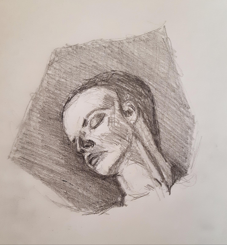 Portrait crayon papier trois quarts face  cours de dessin
