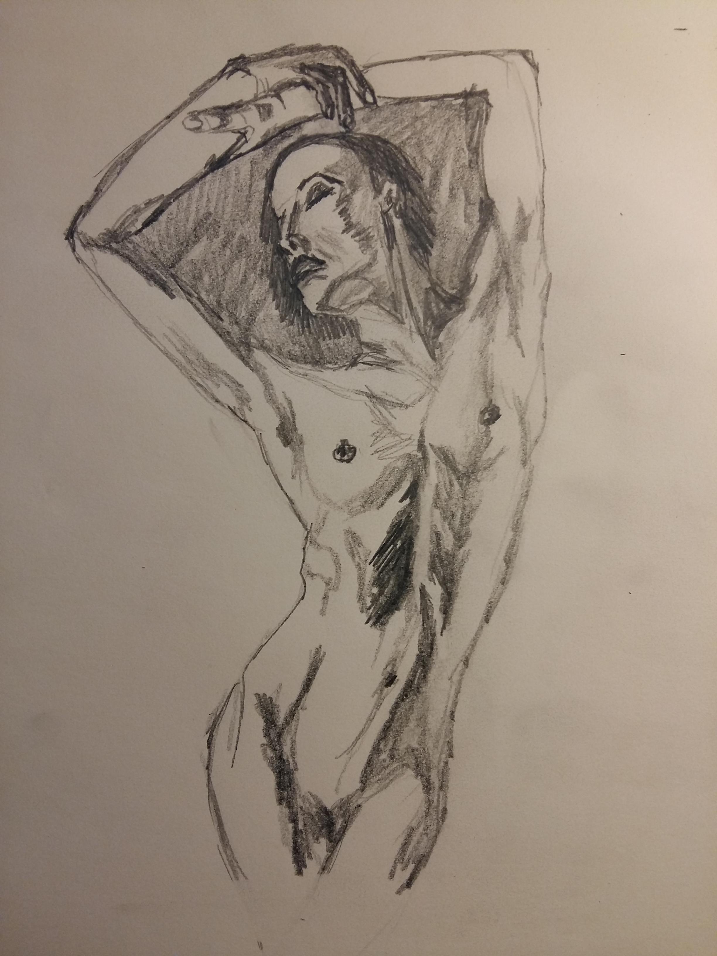Ébauche crayon papier buste de femme en valeurs de gris  cours de dessin