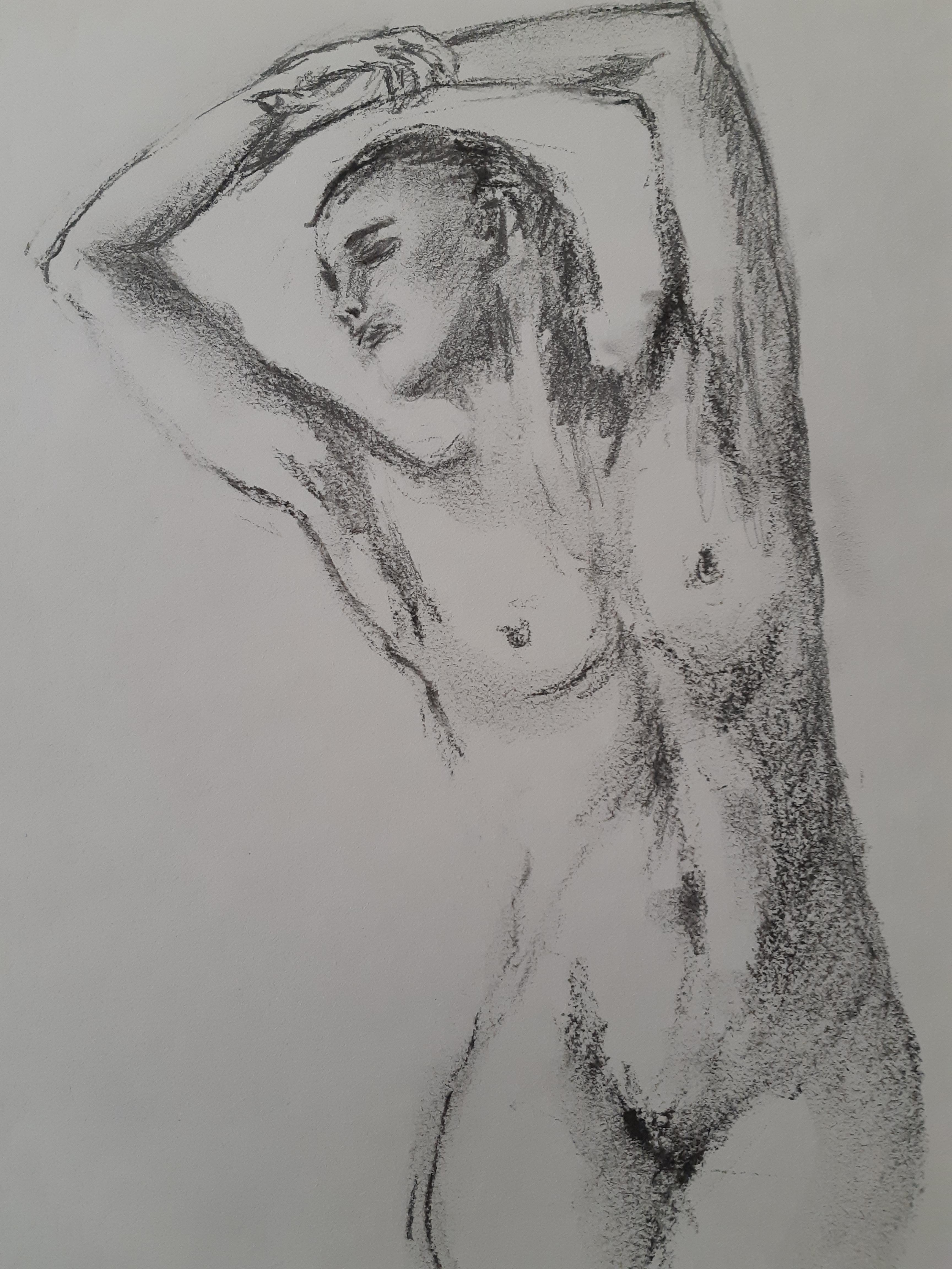 Esquisse buste femme fusain sur papier  cours de dessin