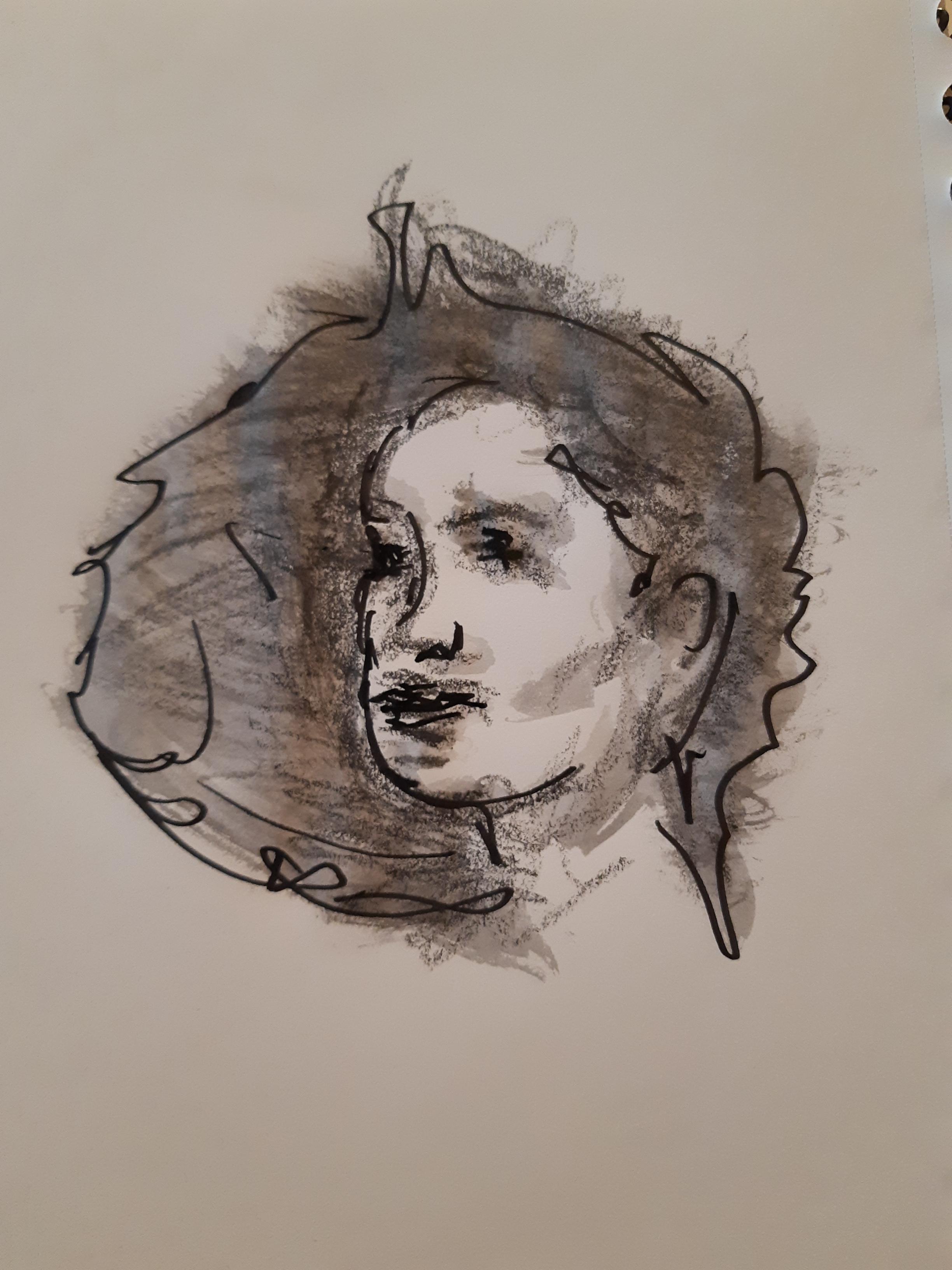 Portrait technique mixte croquis  cours de dessin