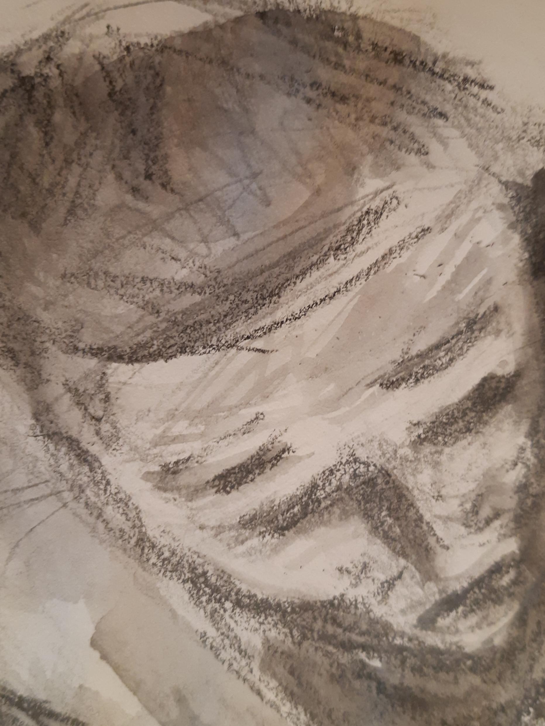 Portrait plong� technique mixte fusain encre de Chine et au  cours de dessin