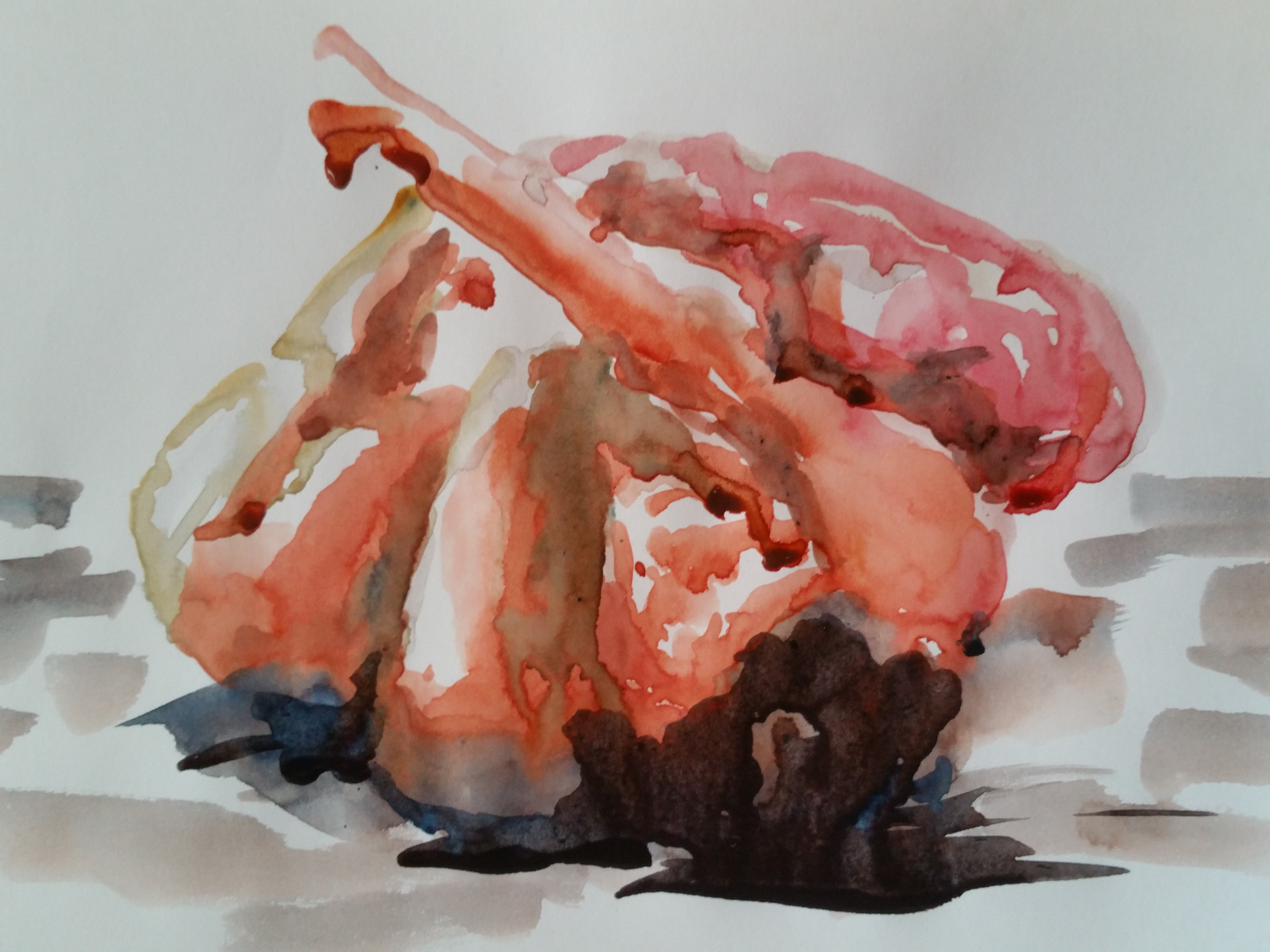 Poses regroup�es aquarelle sur papier  cours de dessin