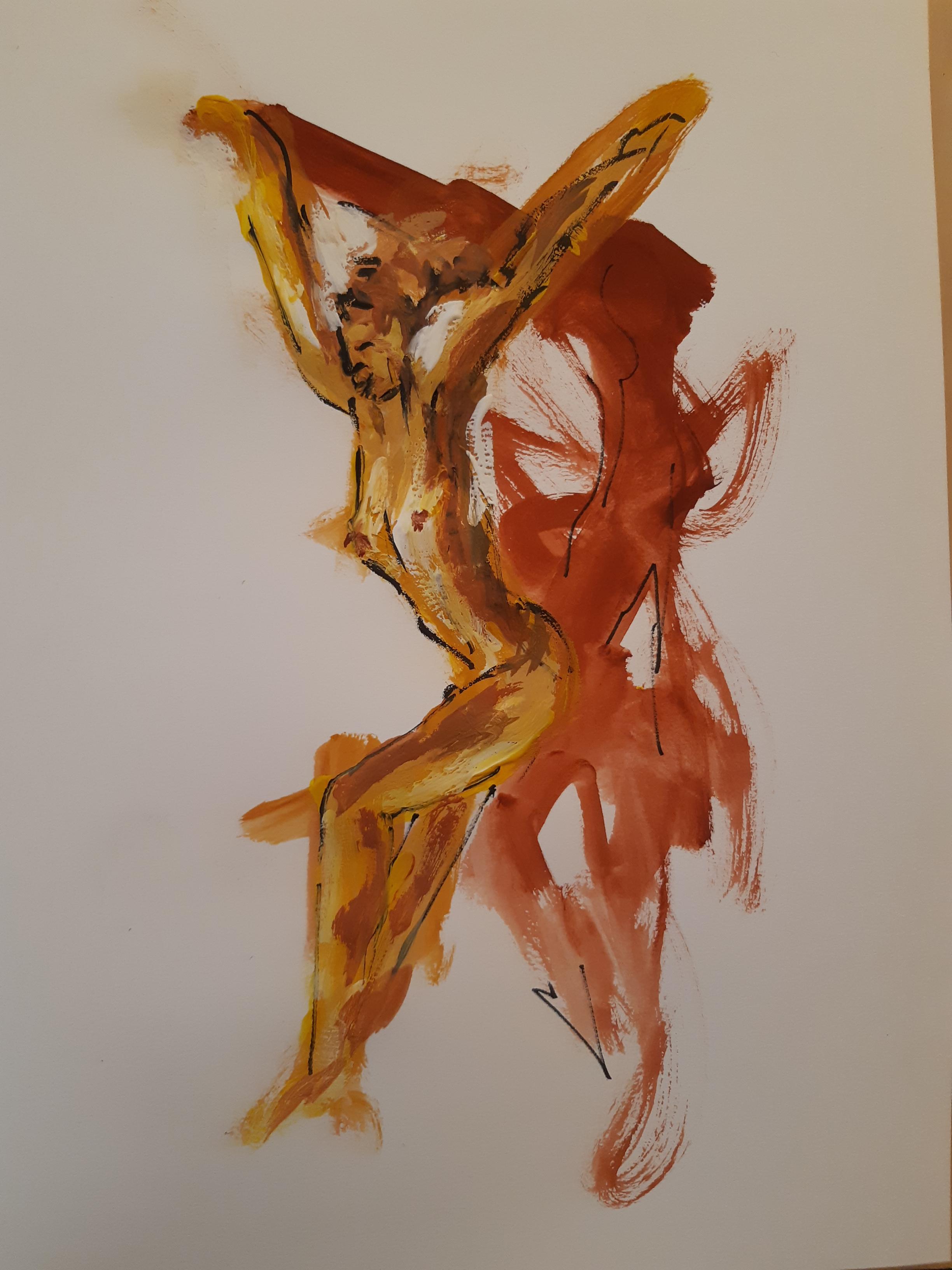 Peinture gouache gestuelle femme drap�e couleurs chaude  cours de dessin