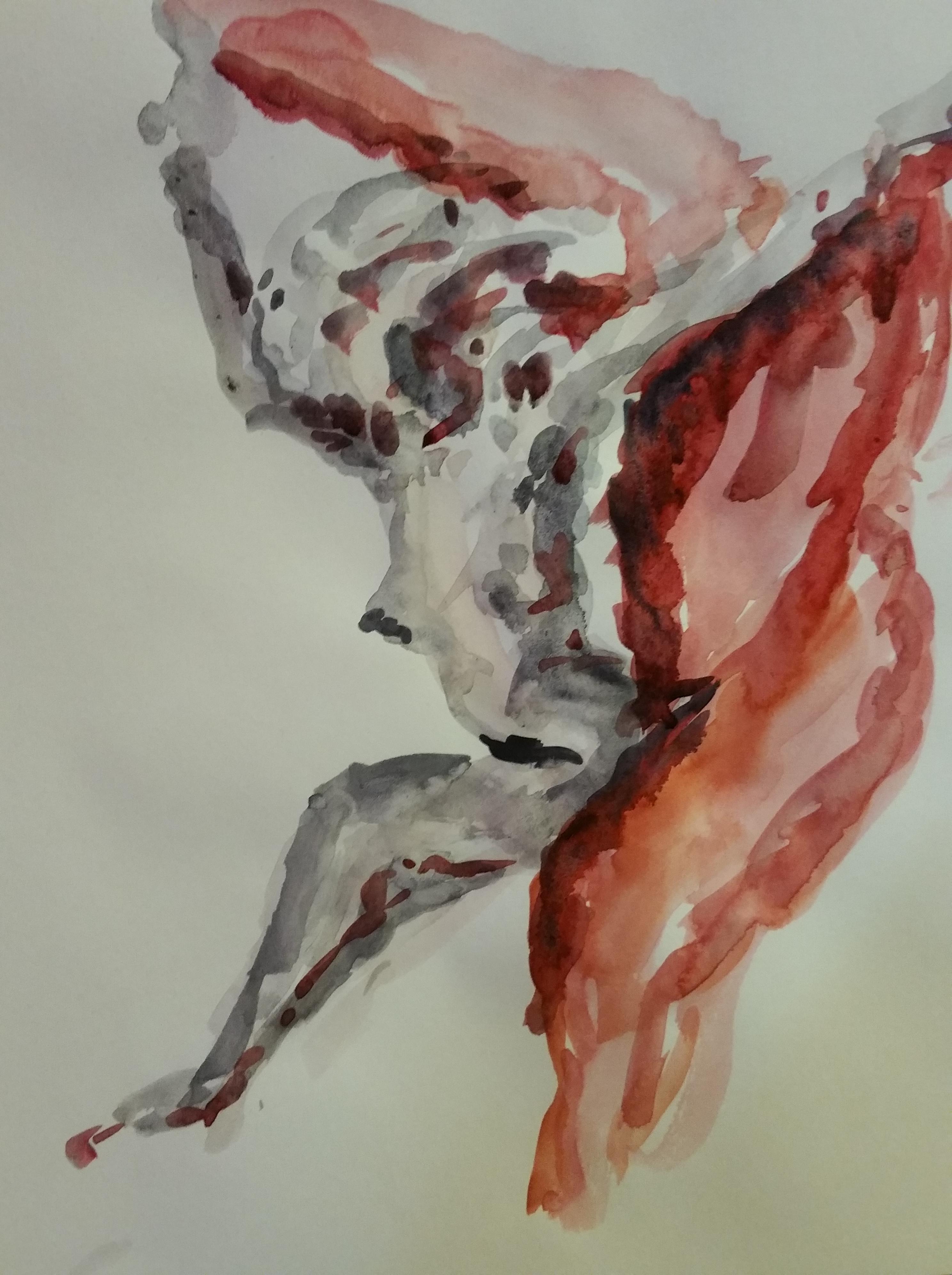 Drap� aquarelle cama�eu rouge  cours de dessin