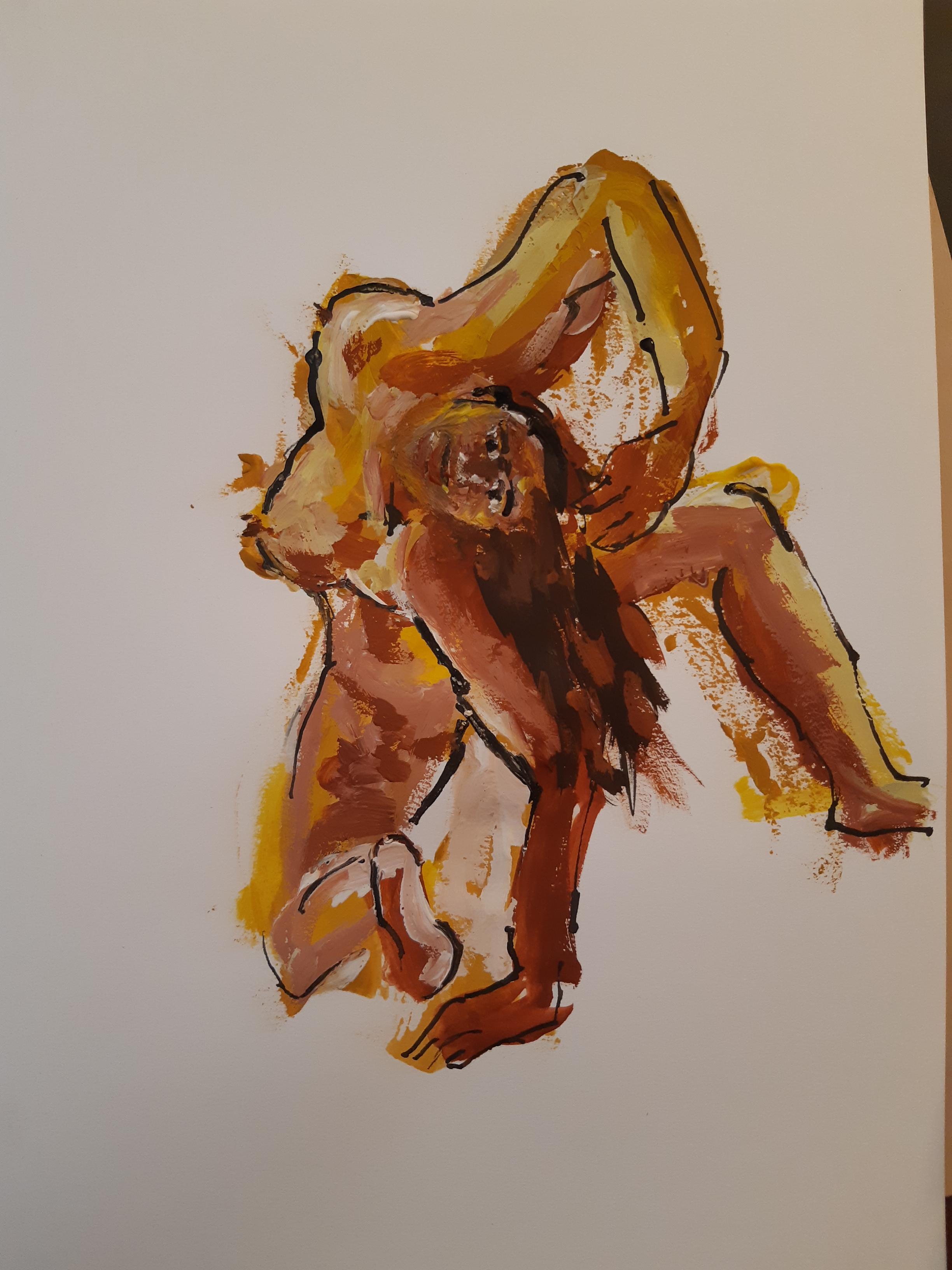 Gouache ligne encre pose acrobatiques femmes raccourcies  cours de dessin