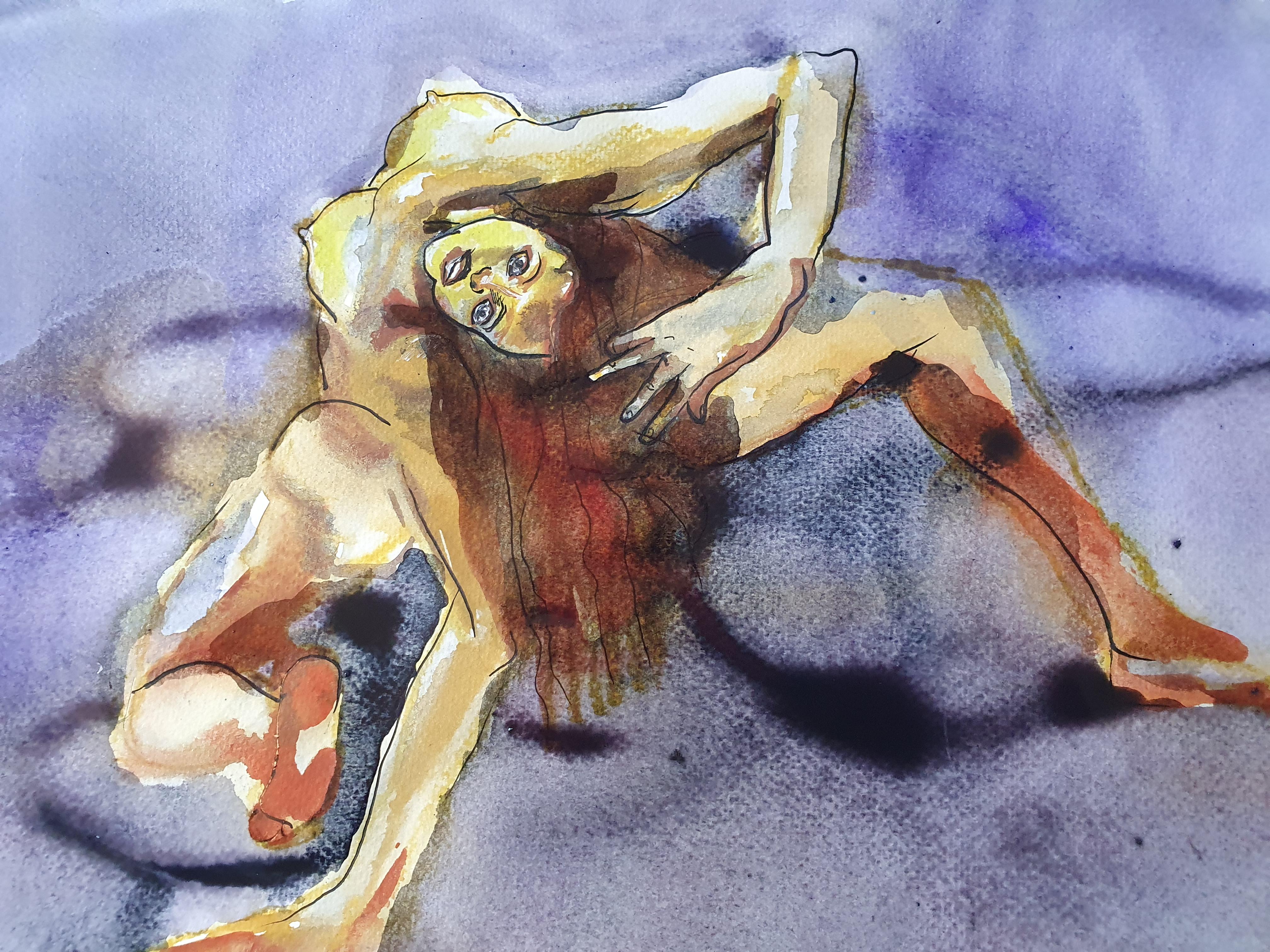 Raccourci torsion pose femme technique mixte aquarelle sur papier  cours de dessin