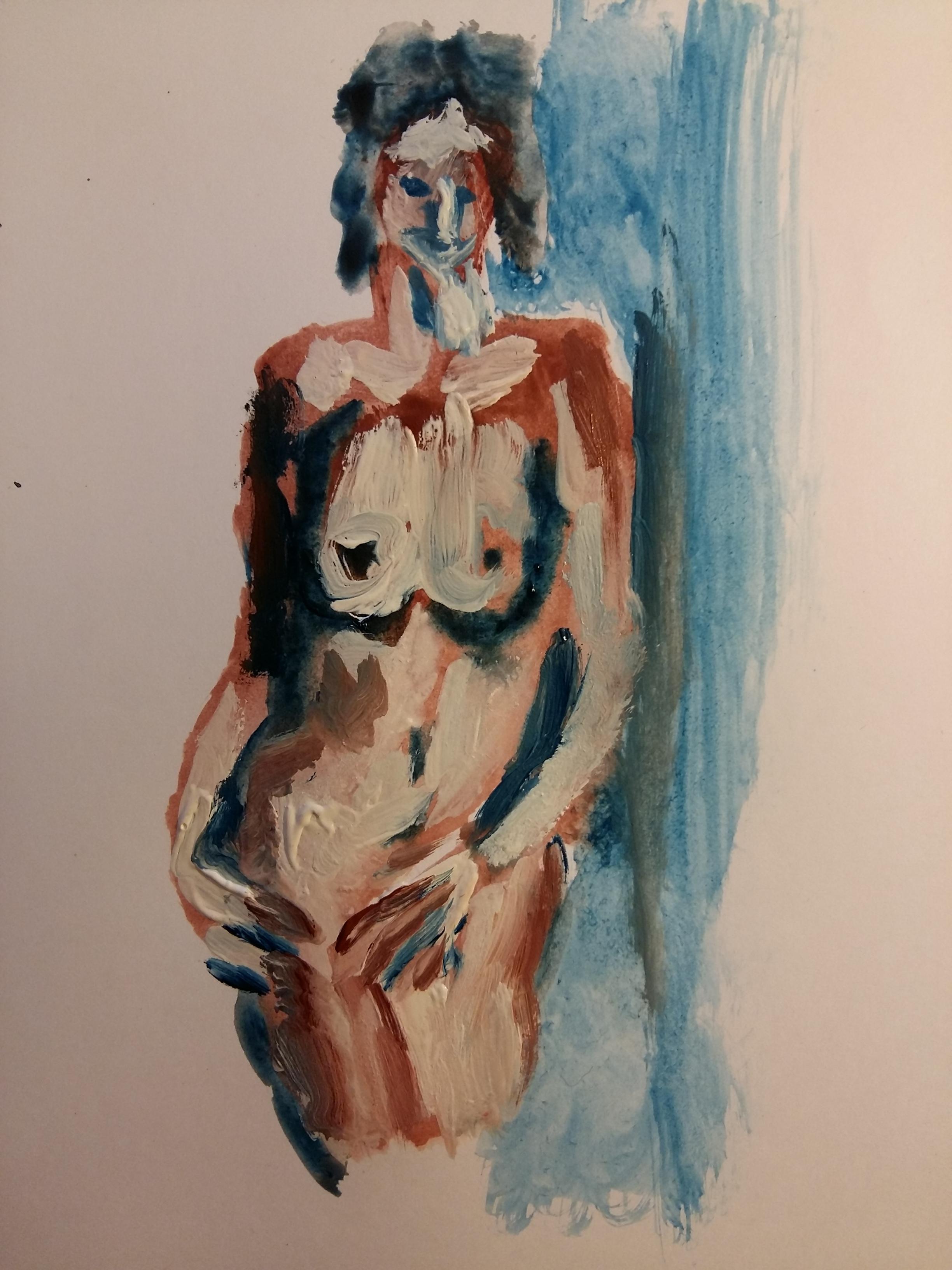 Gouache femme face polychrome sur papier  cours de dessin