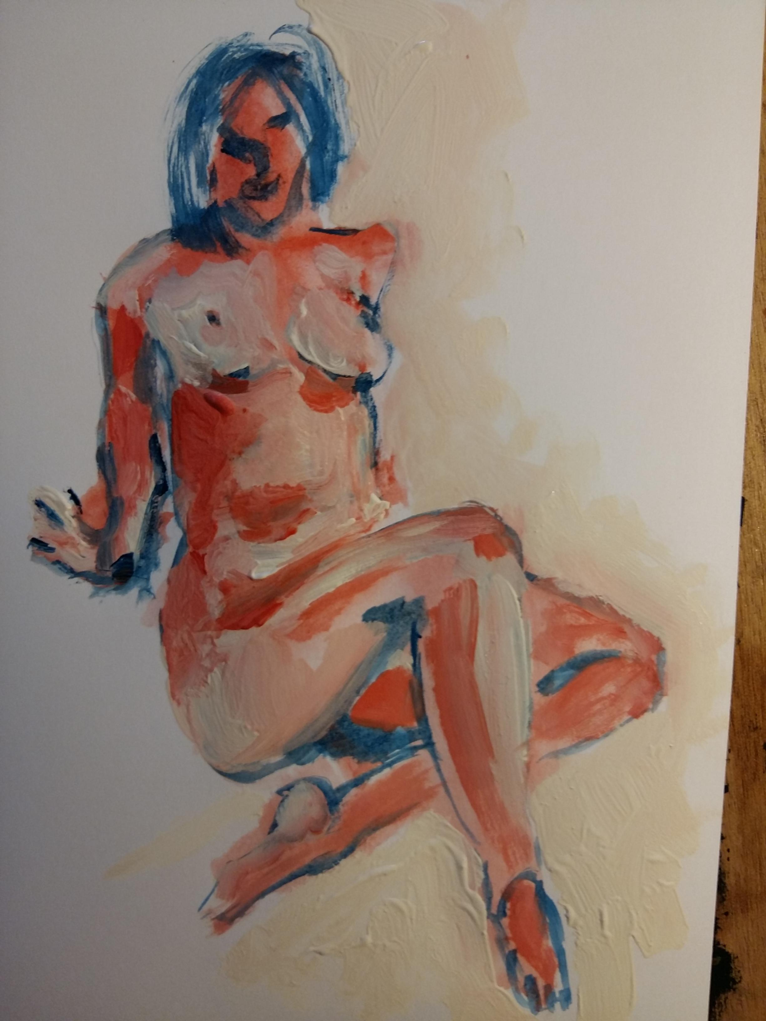 Pause raccourcie femme gouache sur papier polychrome  cours de dessin