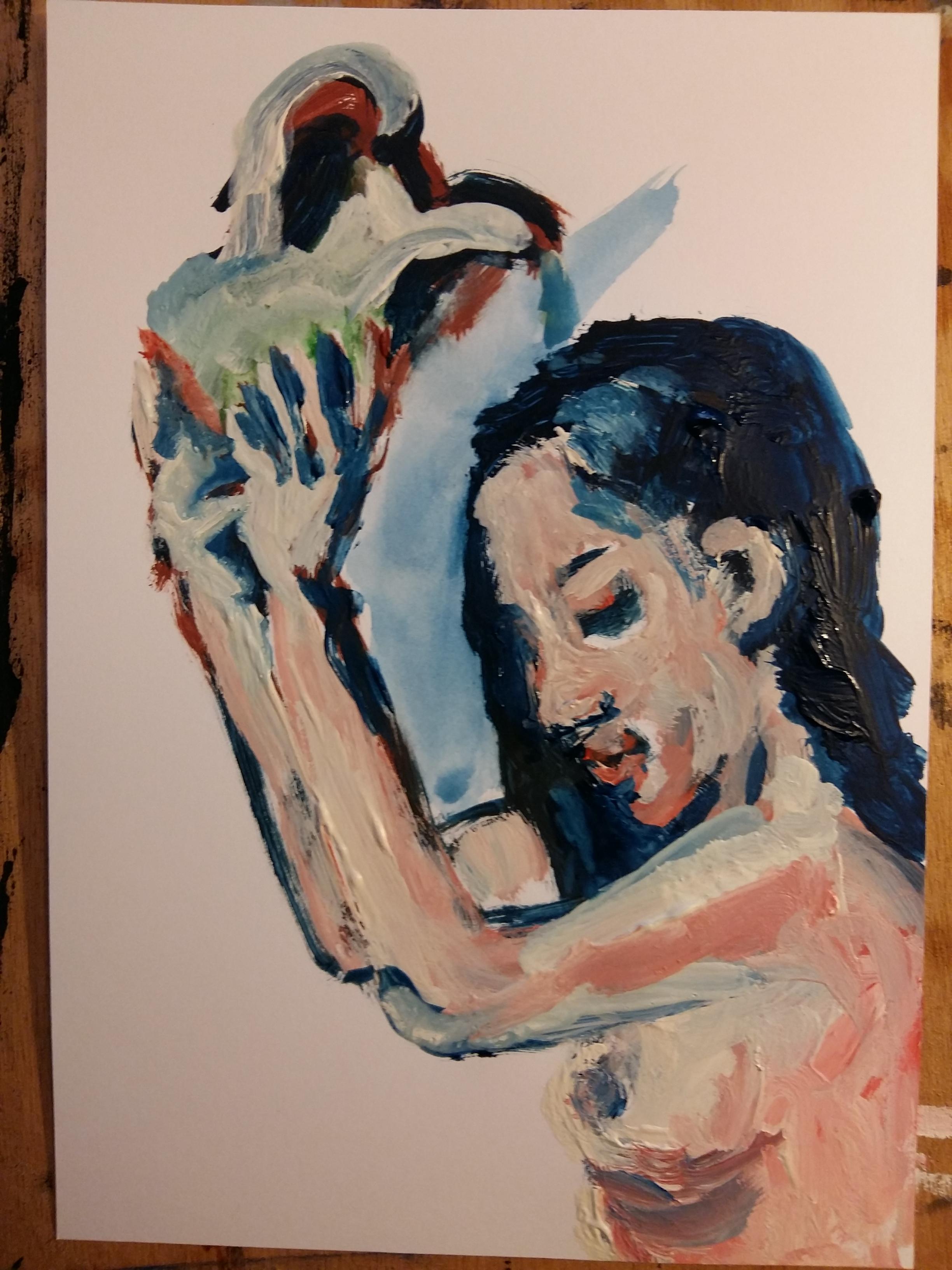 Peinture à huile douche femme cruche tube  cours de dessin