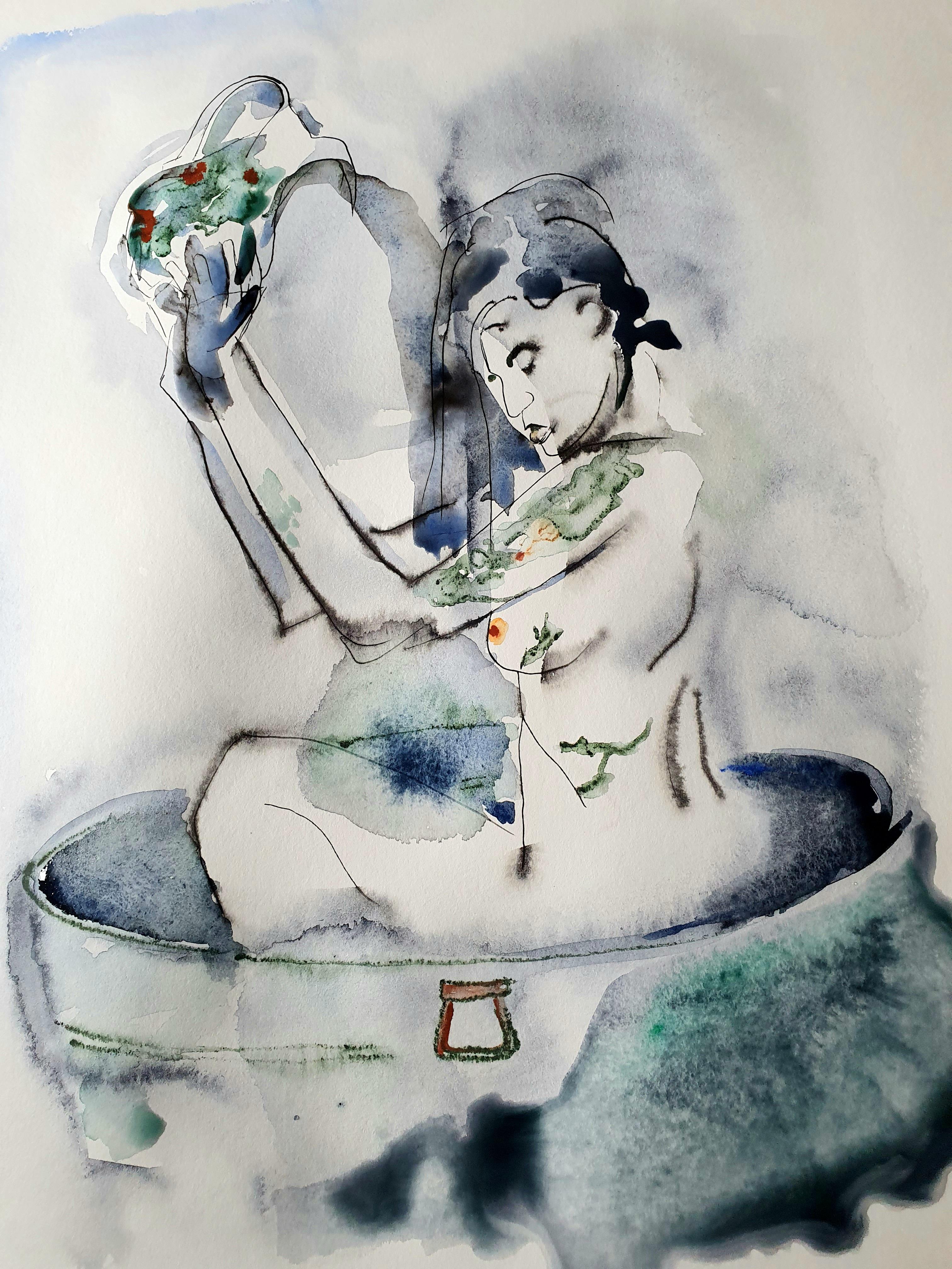Le tube aquarelle femme au bassines cruche polychromes  cours de dessin