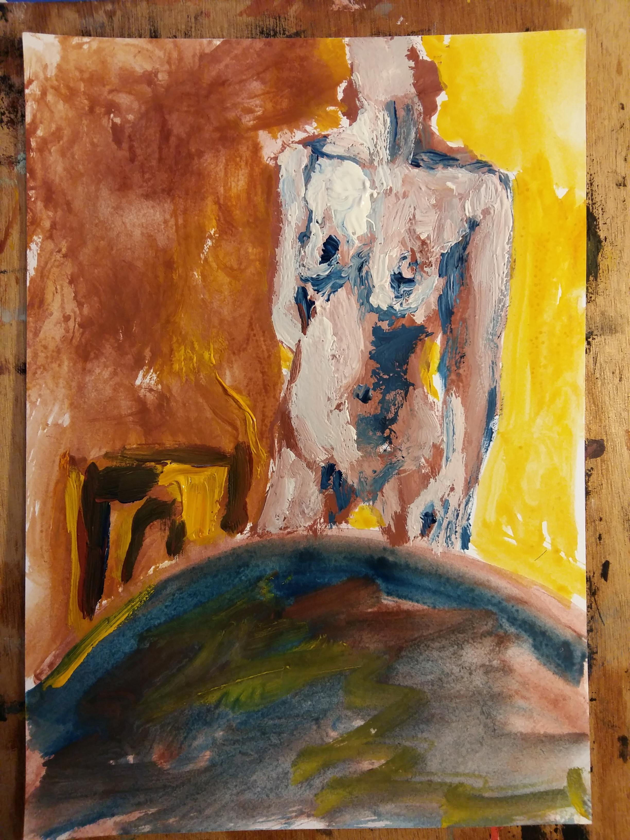 Peinture buste femme table chaises composition  cours de dessin