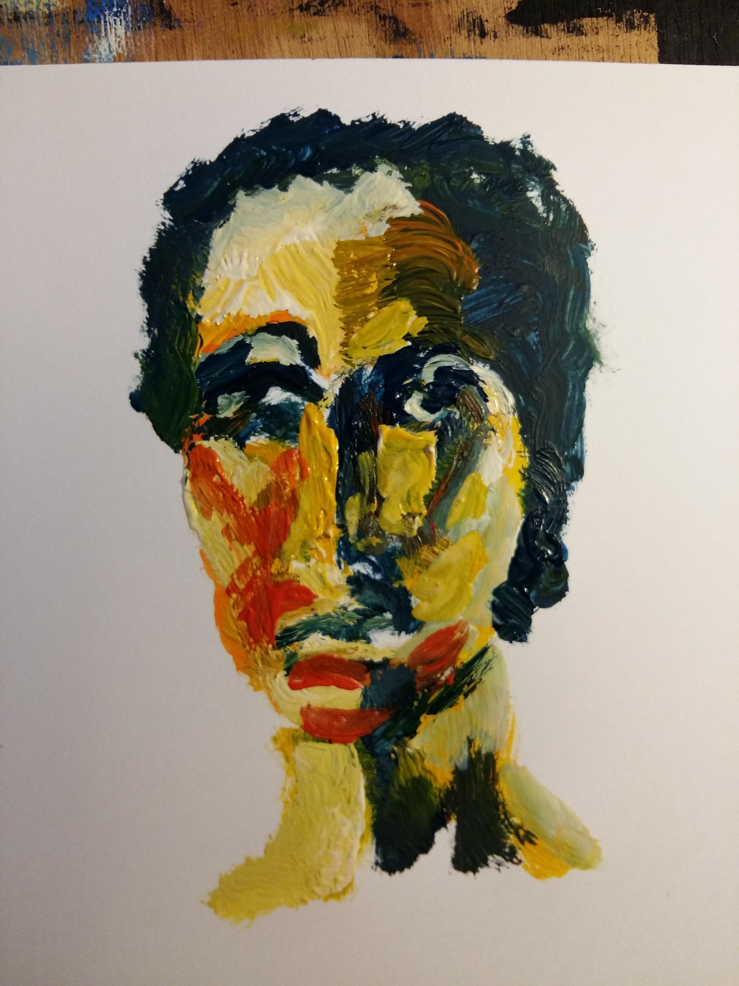 Portrait femme peinture à huile polychrome  cours de dessin