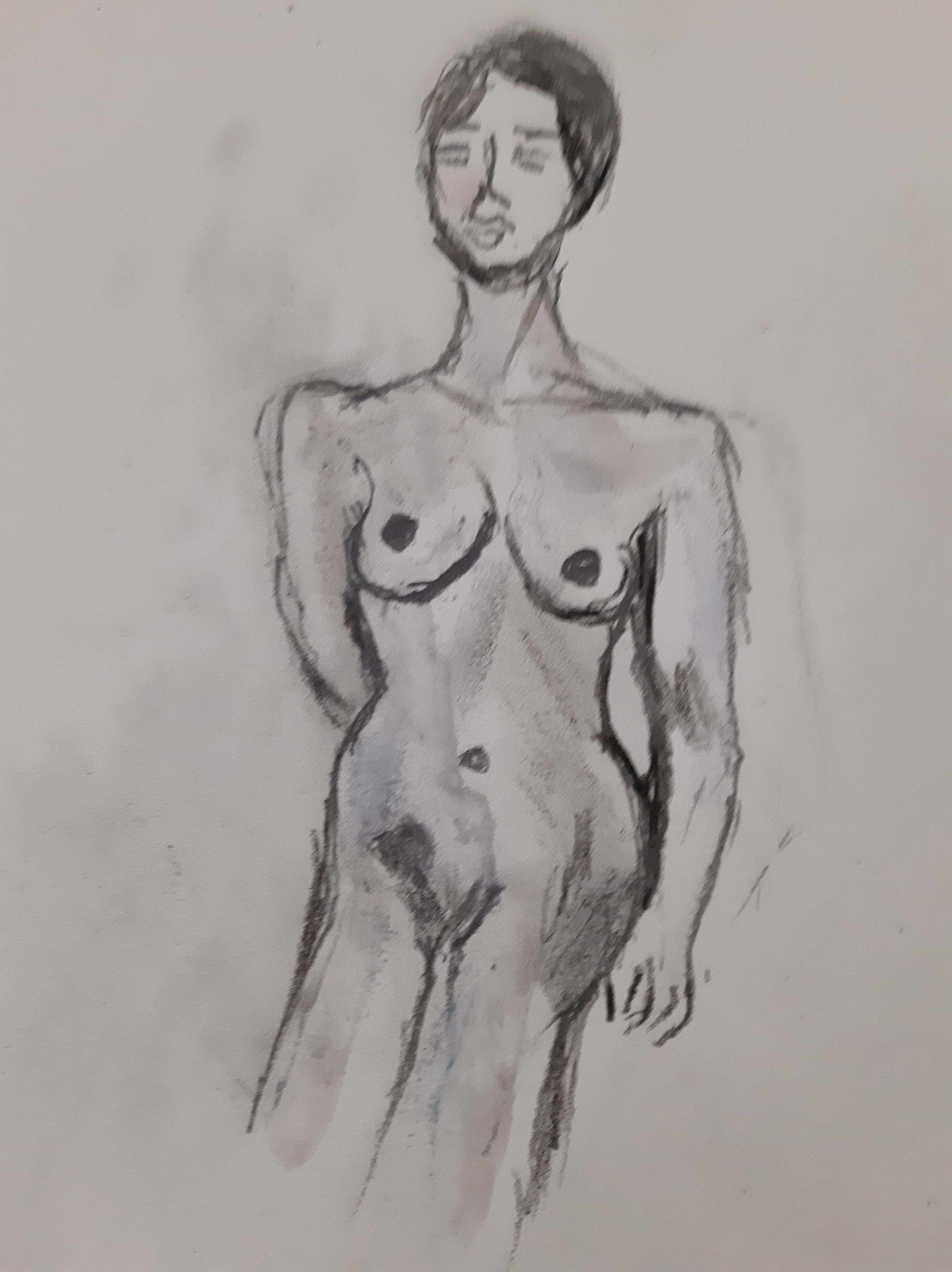 Buste femme fusain brute  cours de dessin