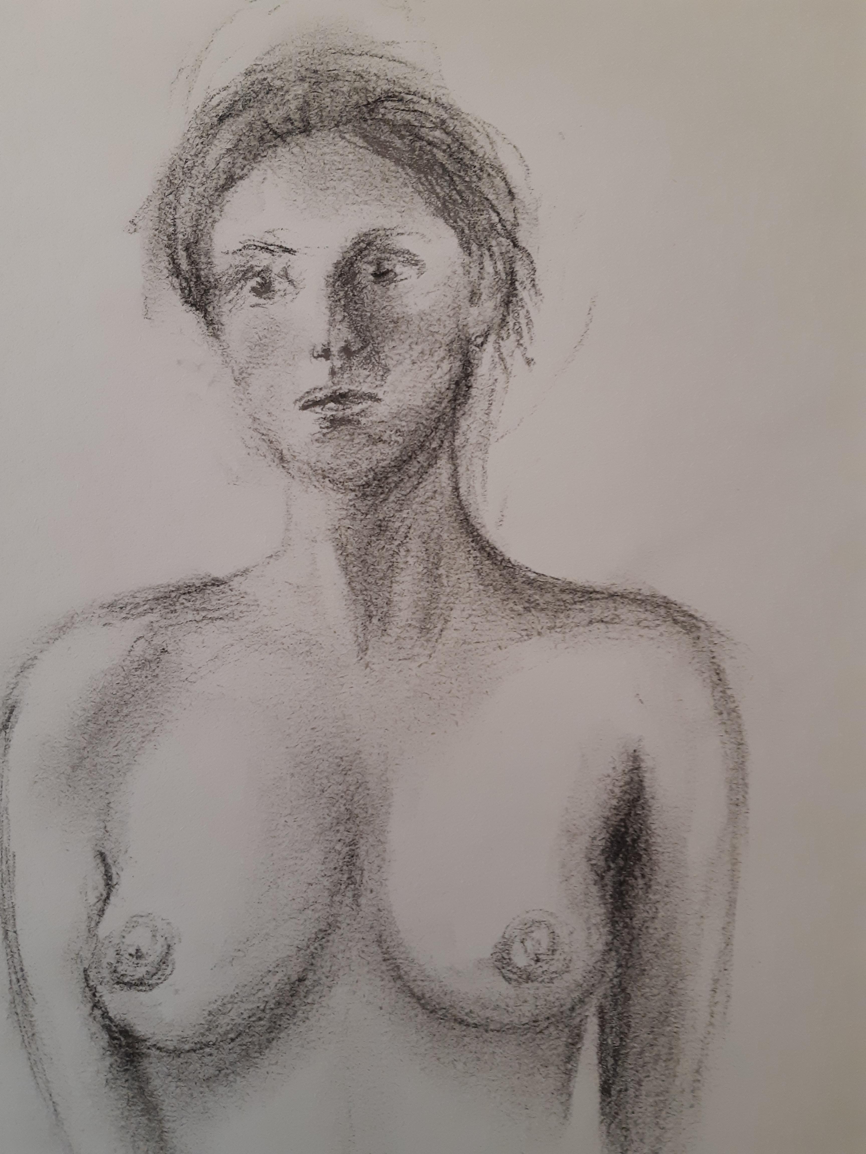 Buste femme fusain  cours de dessin