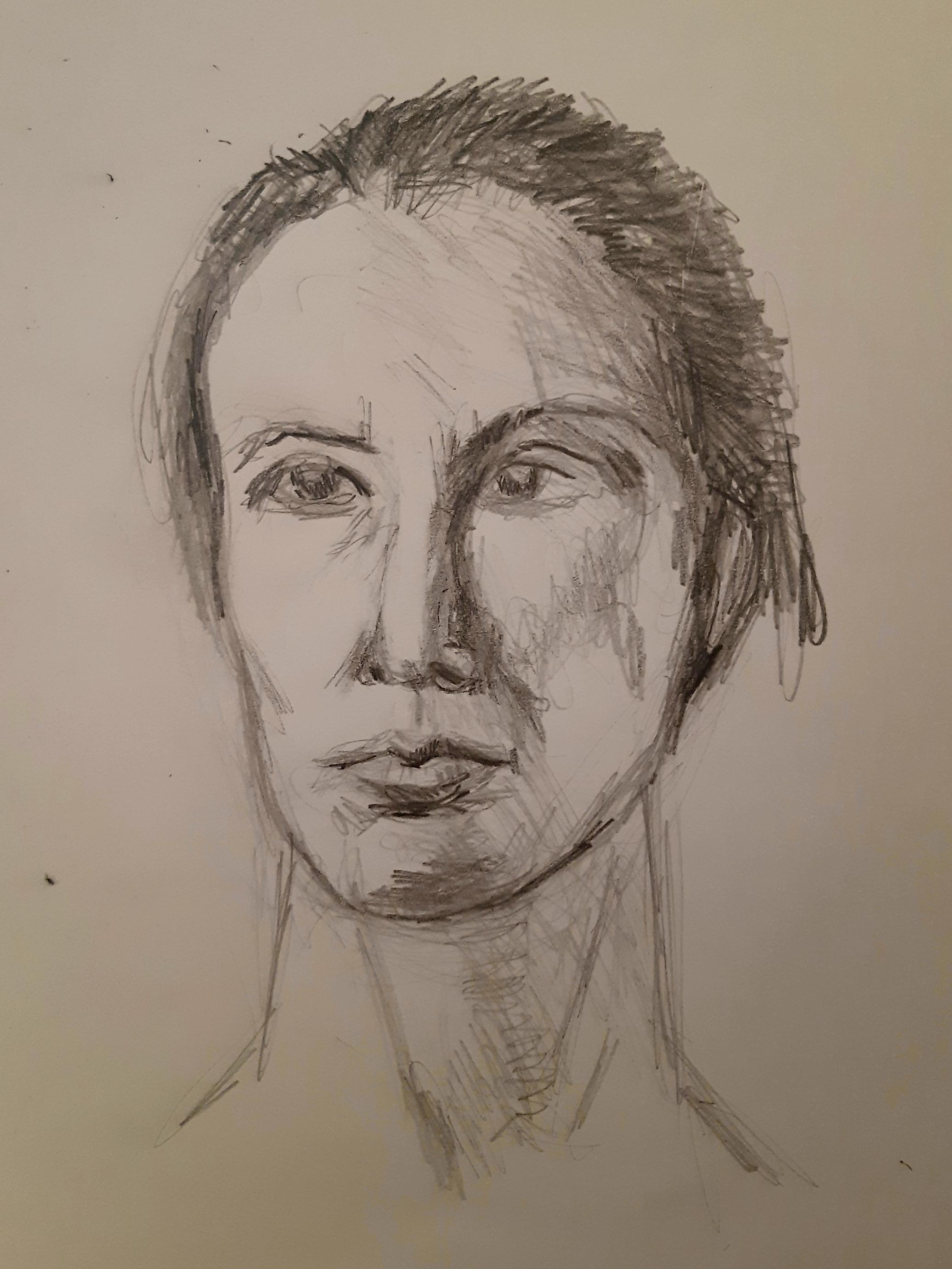 Portrait femme crayon de papier trois quarts face  cours de dessin