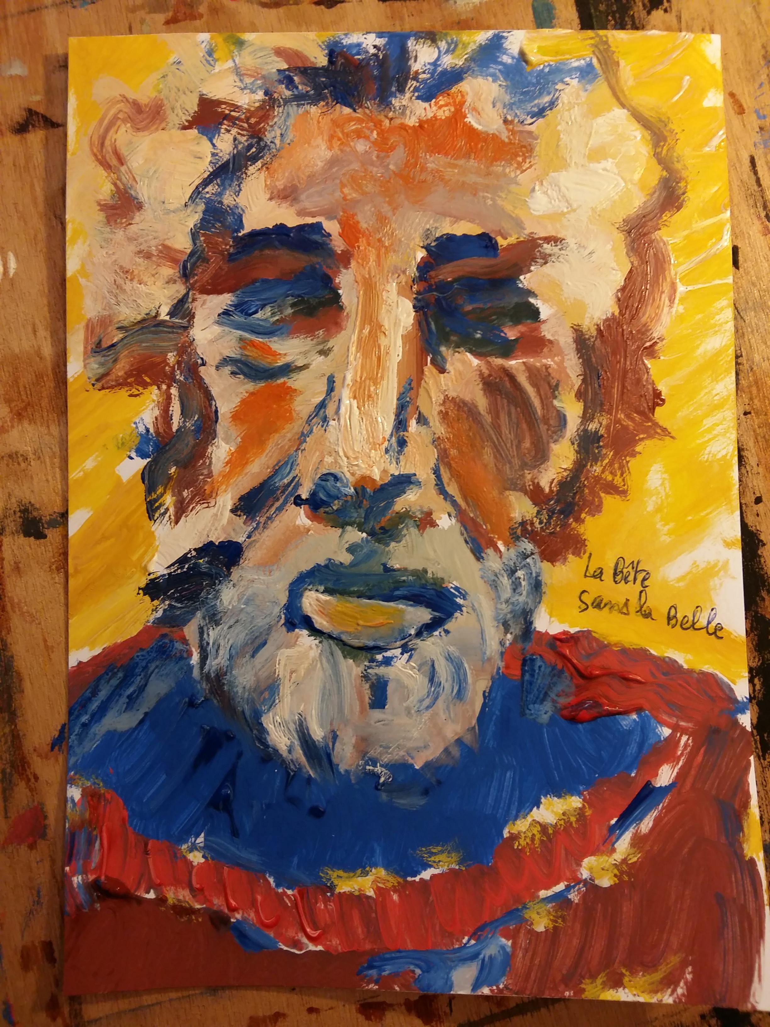 Portrait peinture � huile couleurs homme face barbue  cours de dessin