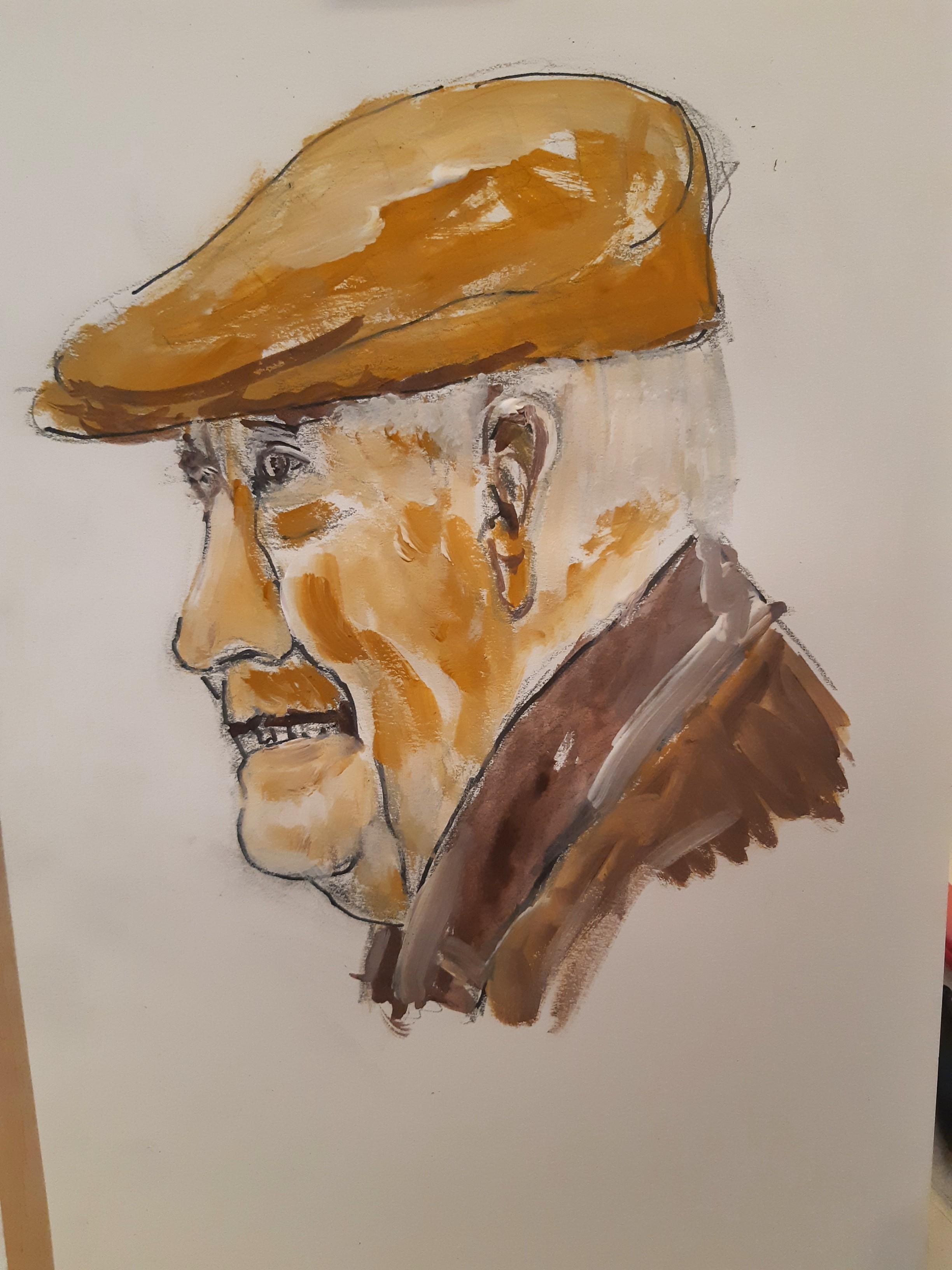 Portrait gouache technique mixte homme profil casquette  cours de dessin