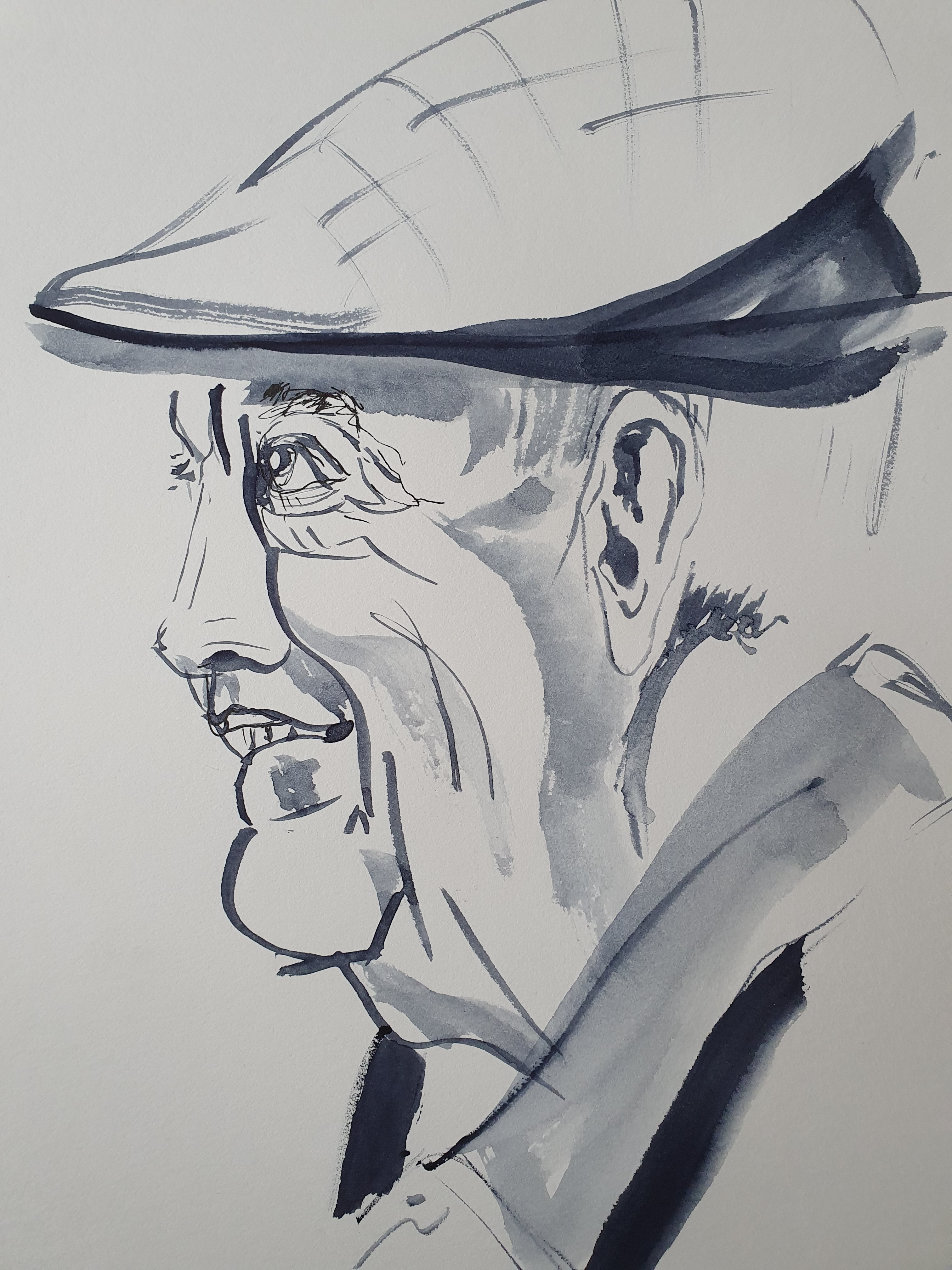 Portrait pro marqueur profil homme casquette  cours de dessin