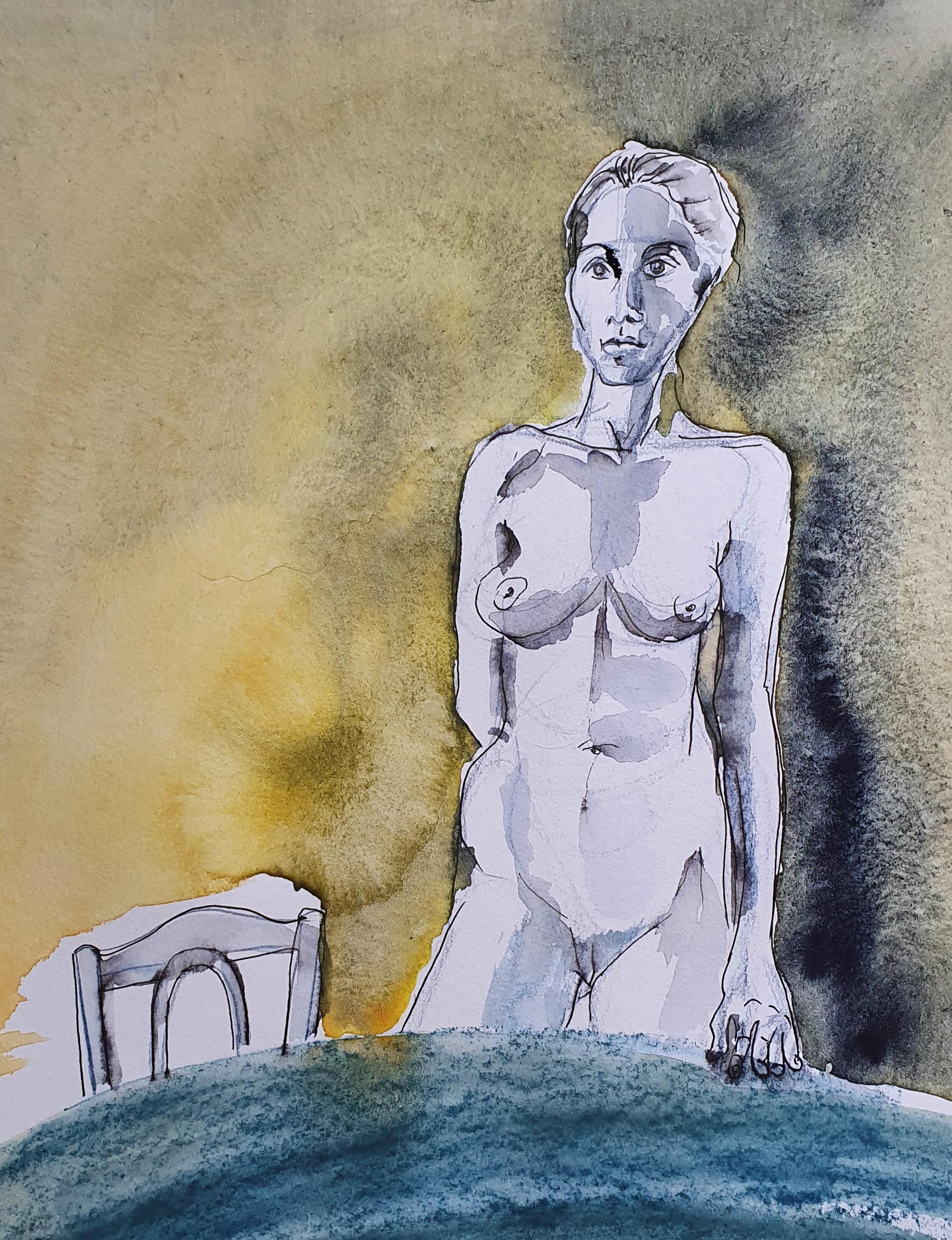 Technique mixte encre aquarelle plume buste femme table chaises  cours de dessin