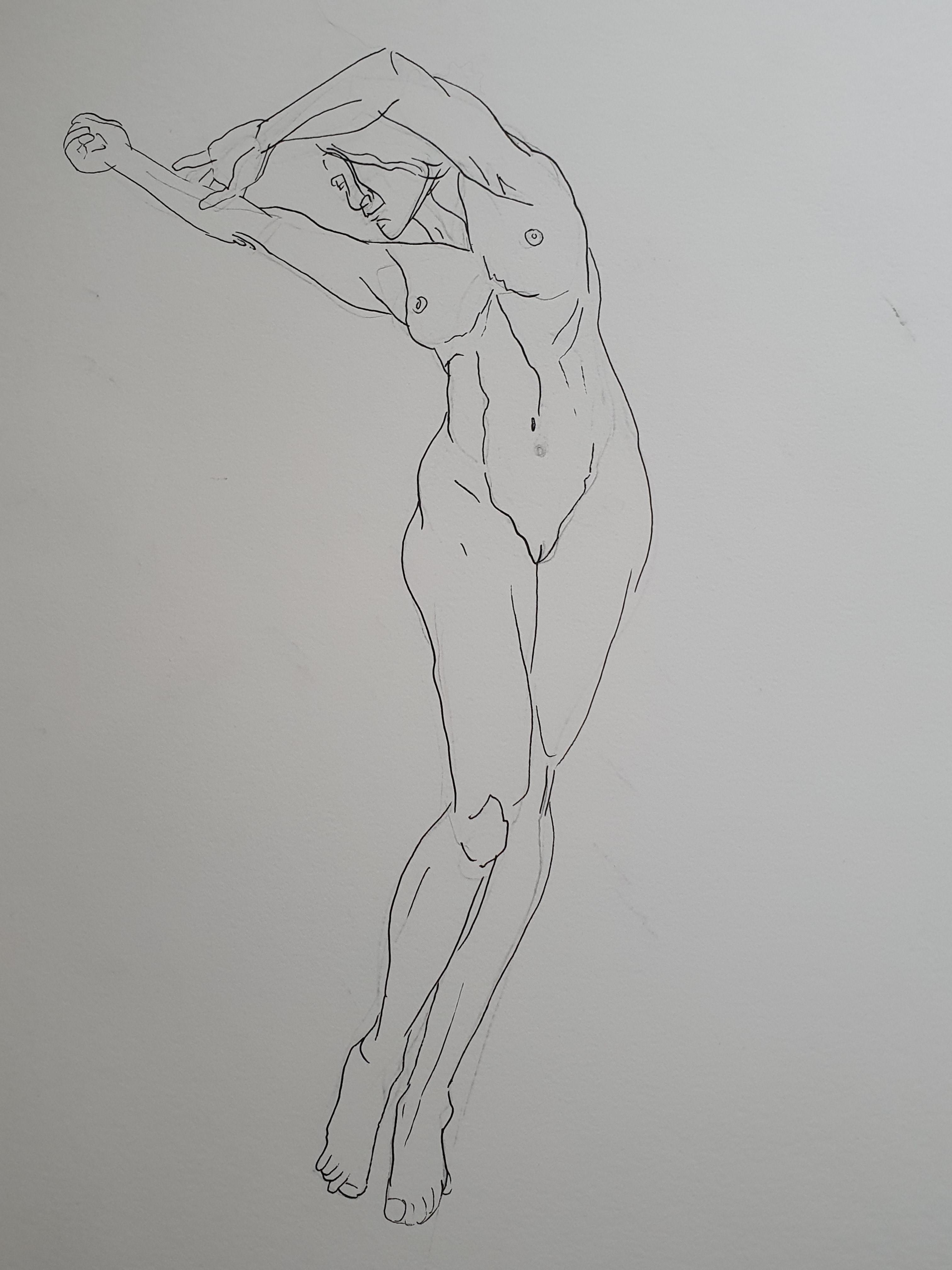 Dessin femme face en pied a la ligne   cours de dessin