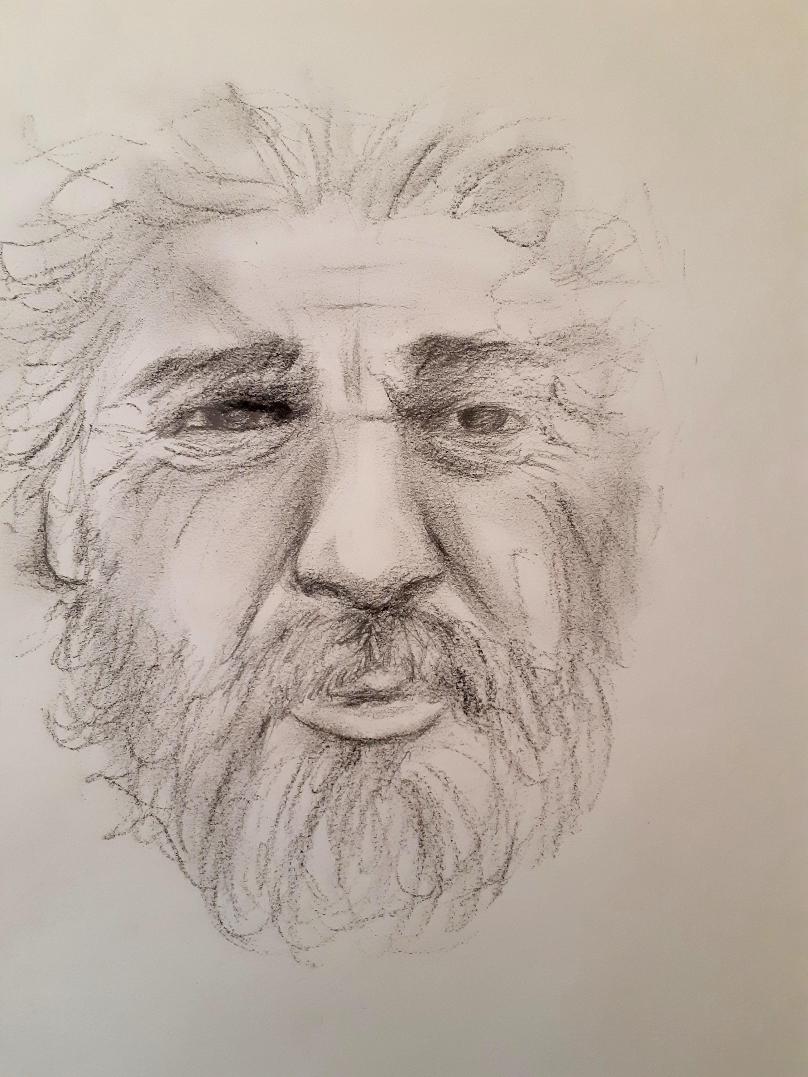 Portrait crayon de papier homme barbu sur papier  cours de dessin