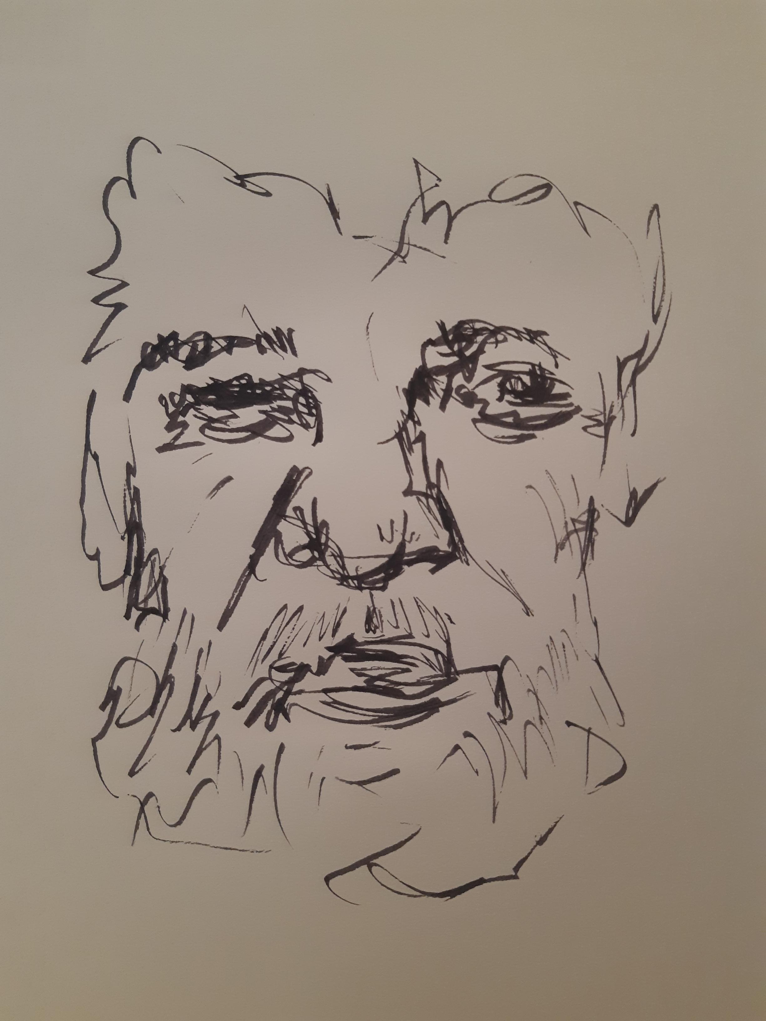 Portrait plume encre sur papier homme  cours de dessin