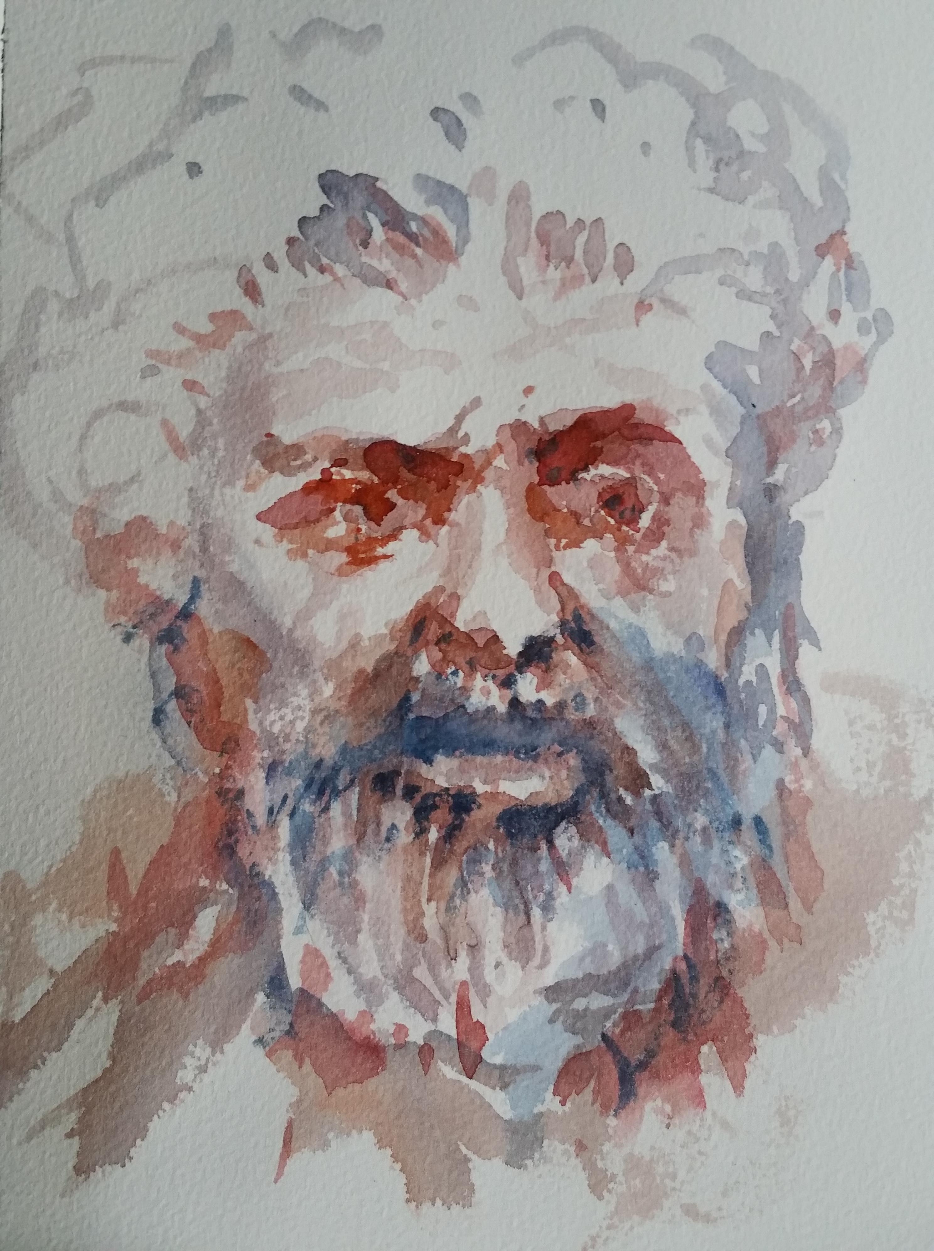 Portrait homme aquarelle  cours de dessin