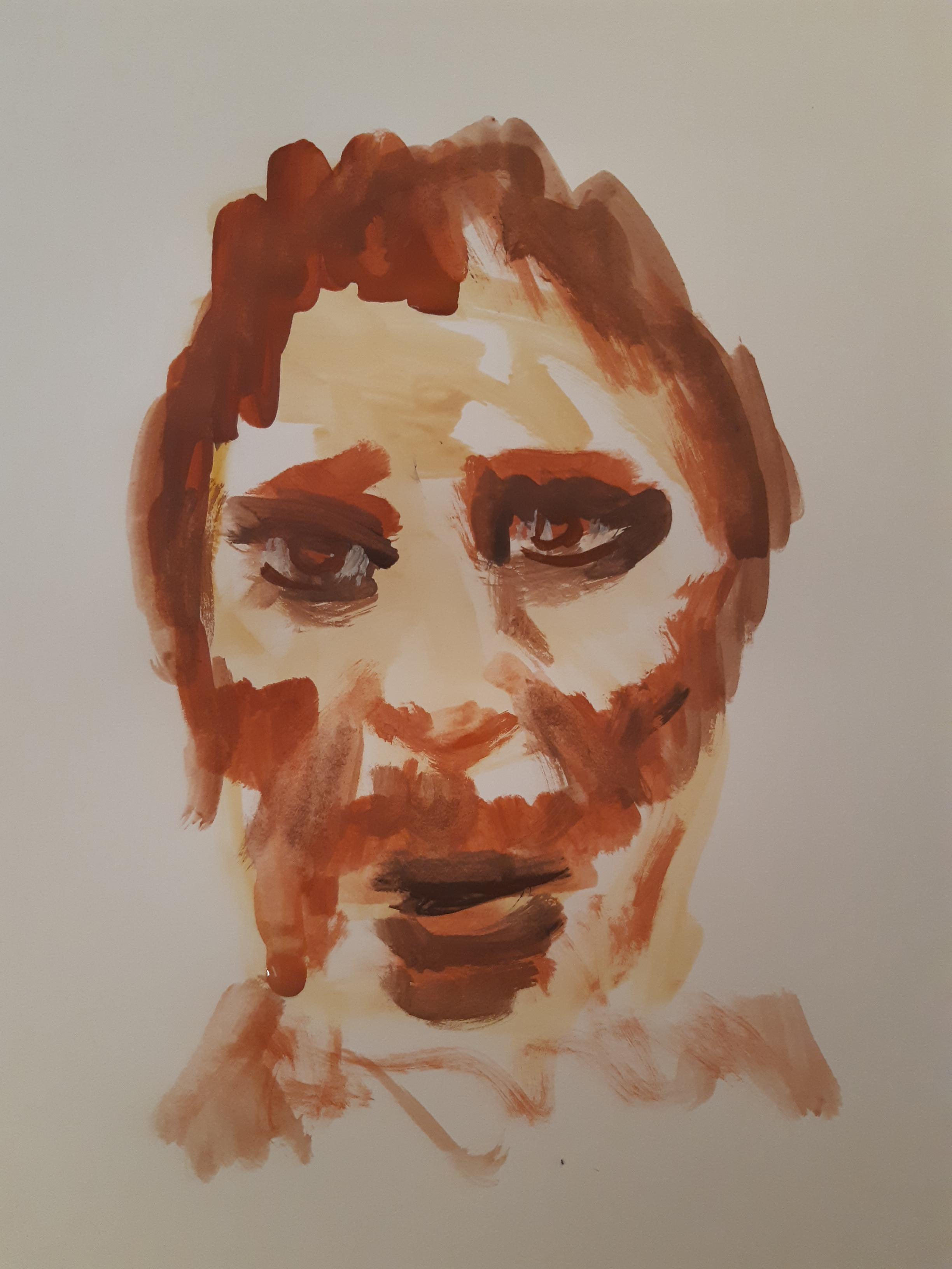 Portrait gouache homme ocre sur papier E  cours de dessin