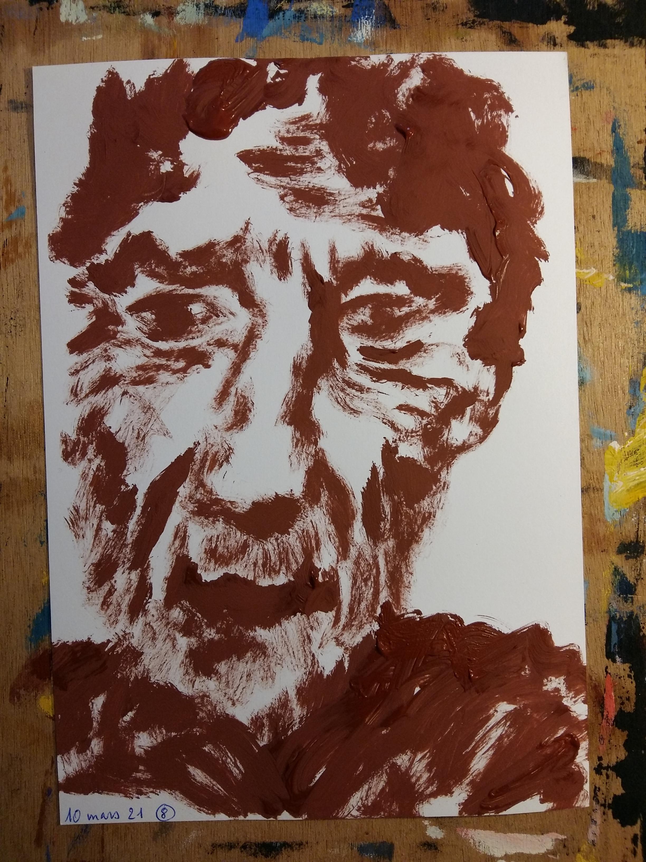 Portrait homme face gouache mardi sur papier  cours de dessin