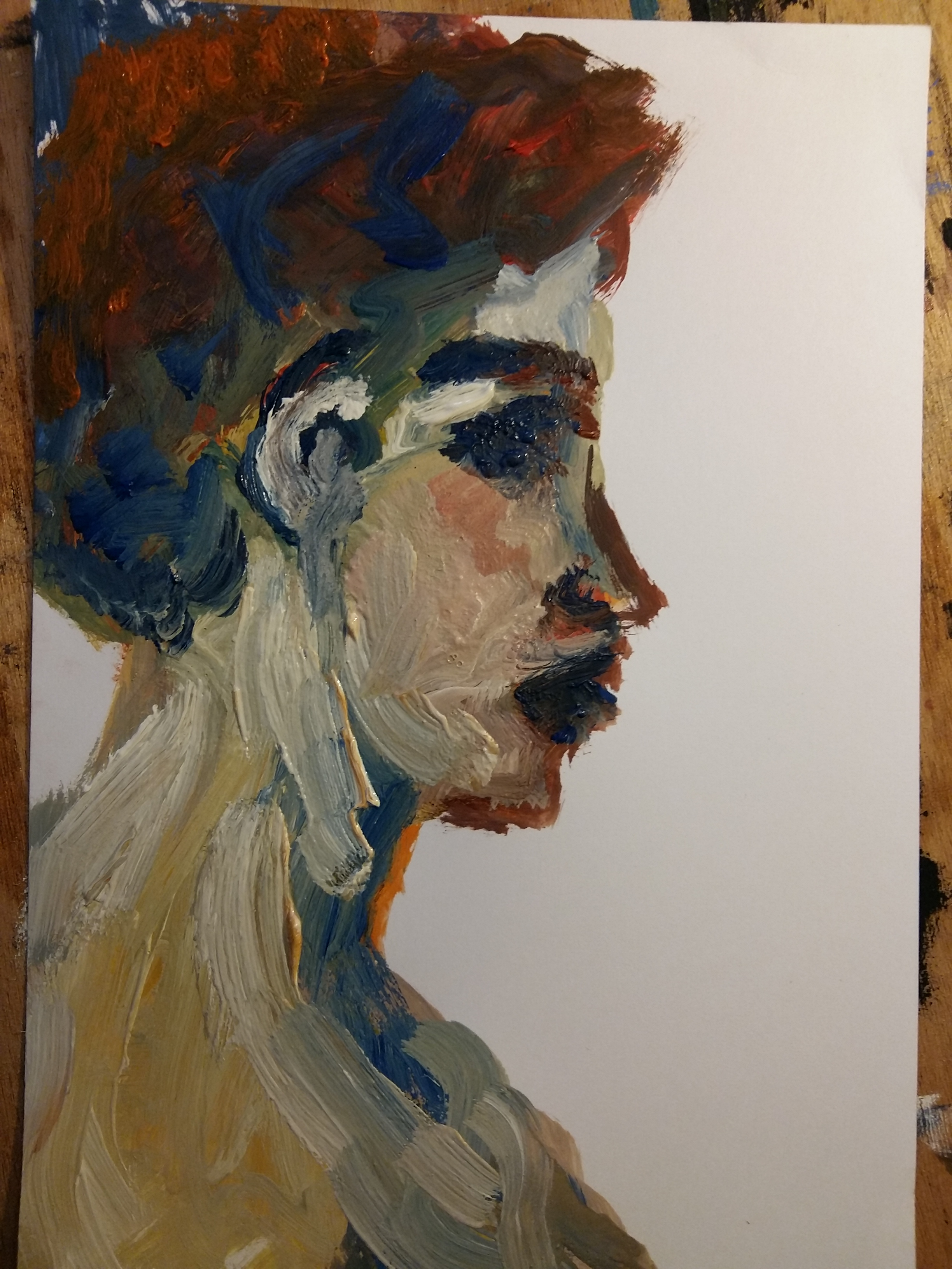 Peinture à huile portraits profil femme  cours de dessin