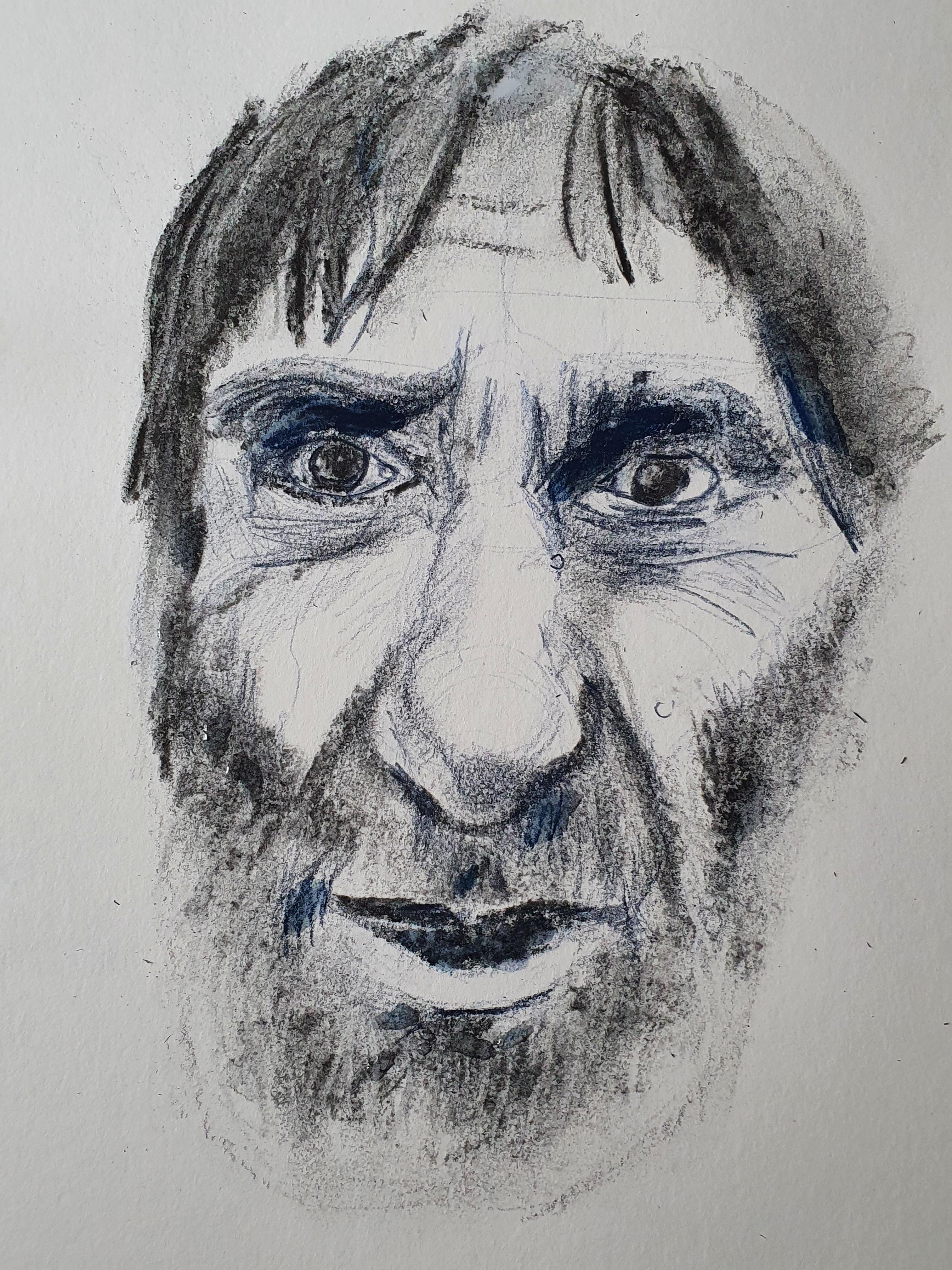 Technique mixte crayon de couleur fusain portraits hommes sur papier  cours de dessin