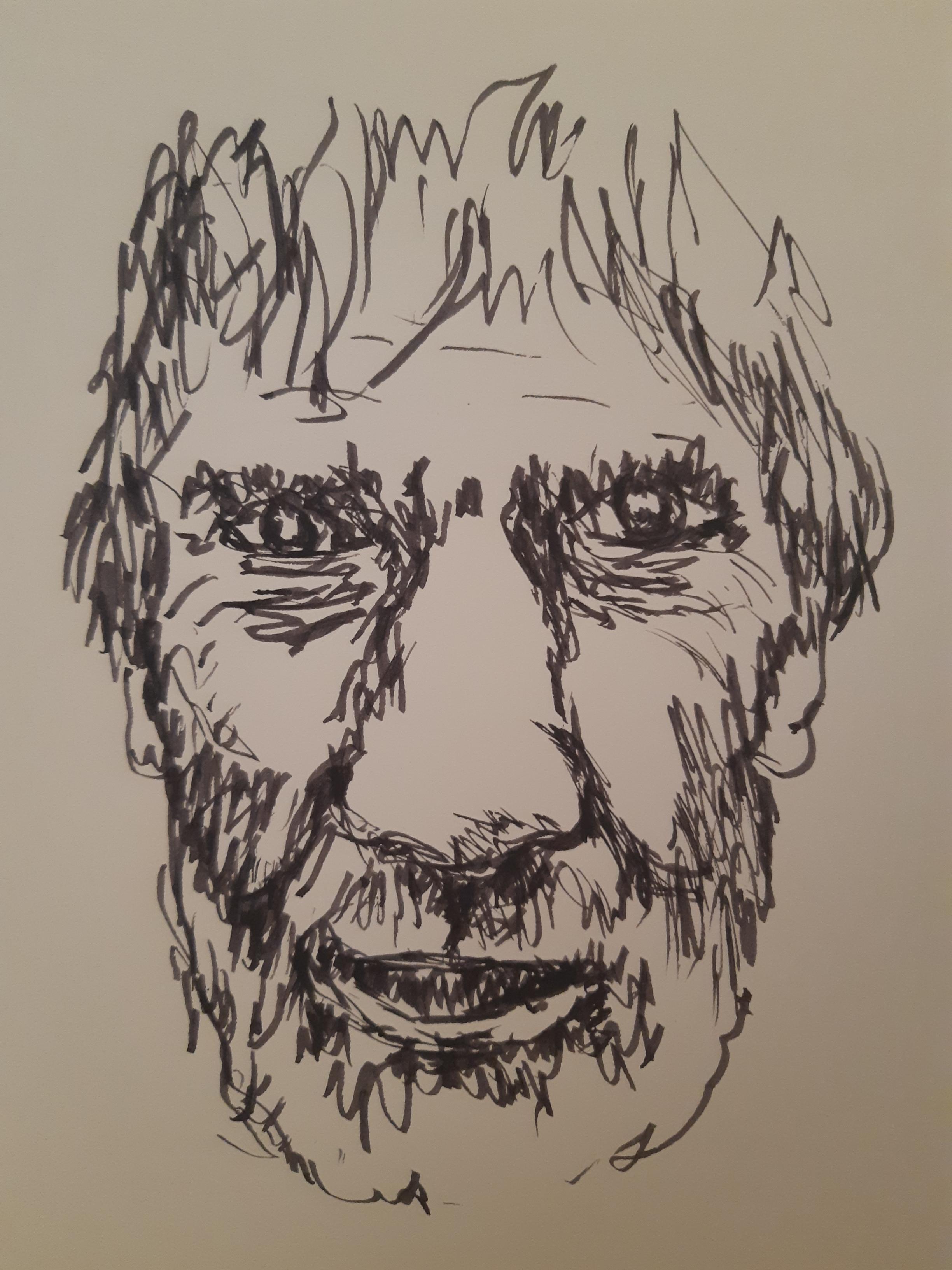 Portrait homme feutre sur papier  cours de dessin