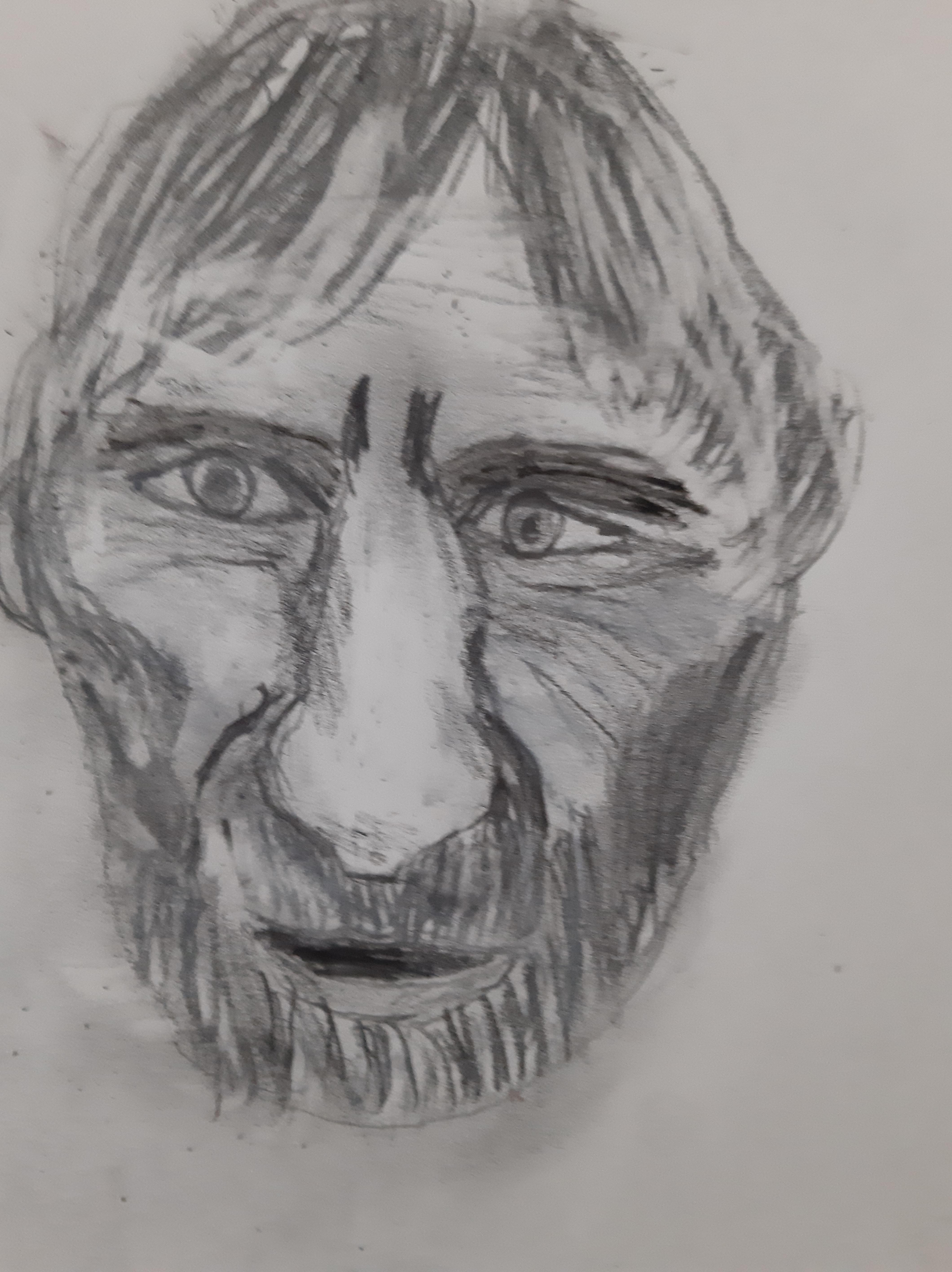 Portrait fusain homme  cours de dessin