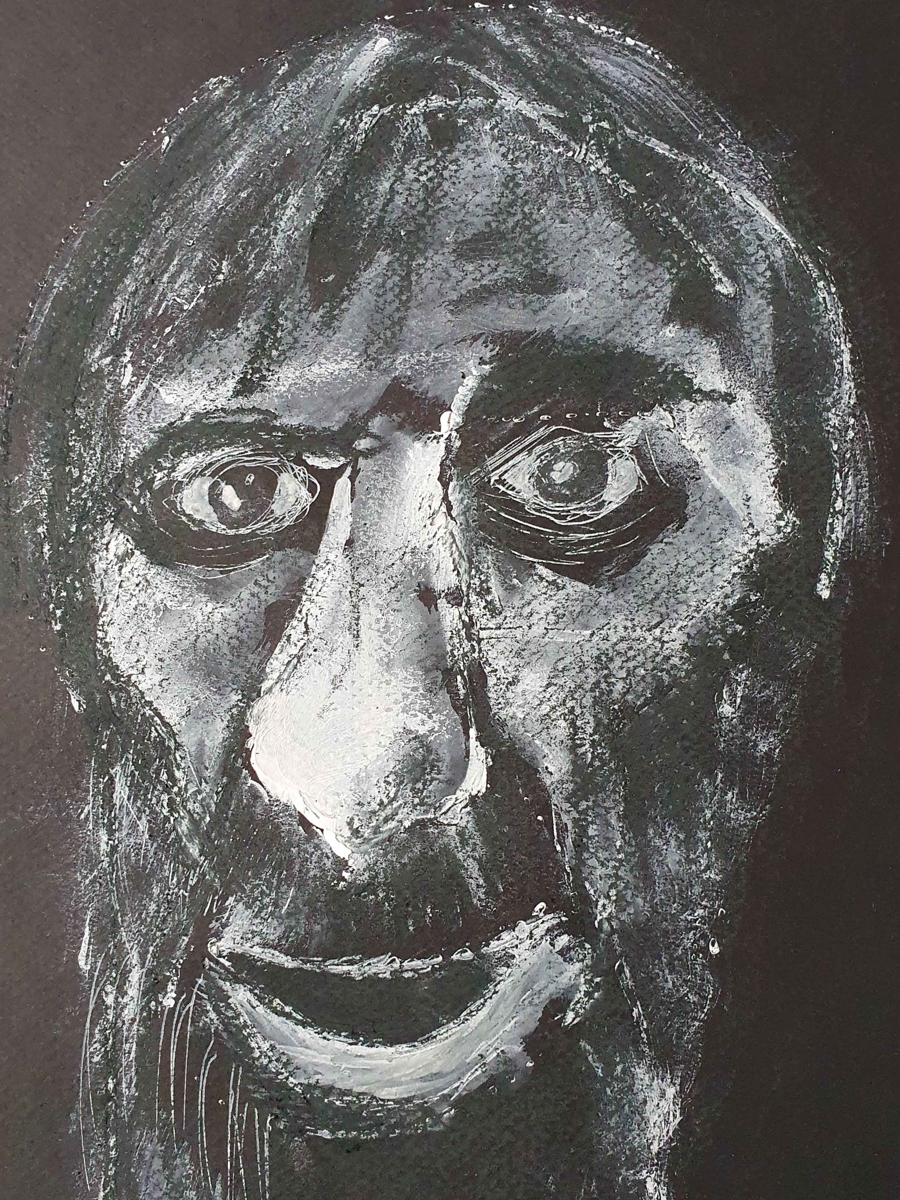 Portrait pastel technique mixte sur papier noir homme  cours de dessin