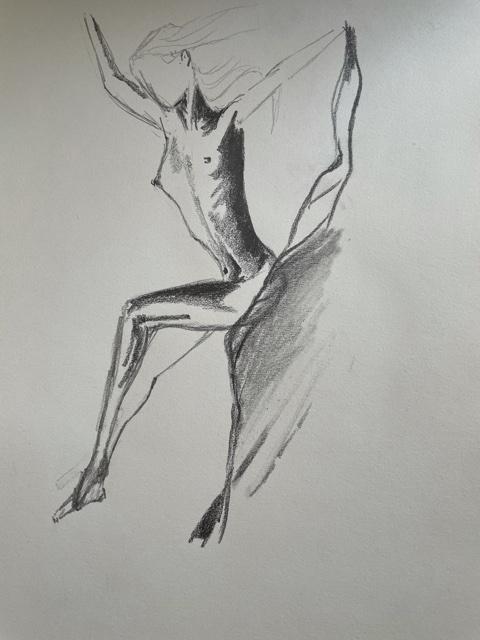 Esquisse rapide drap�e mod�le femme graphite  cours de dessin