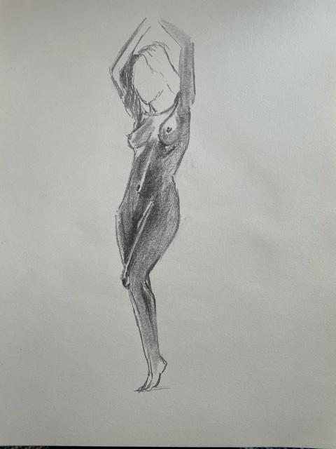 �bauche rapide en valeurs de gris trois quarts face dessin femme  cours de dessin