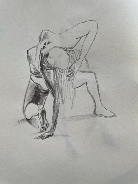 Dessin raccourci fusain femme  cours de dessin
