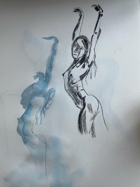 Fusain et aquarelle sur papier ombre buste femme  cours de dessin