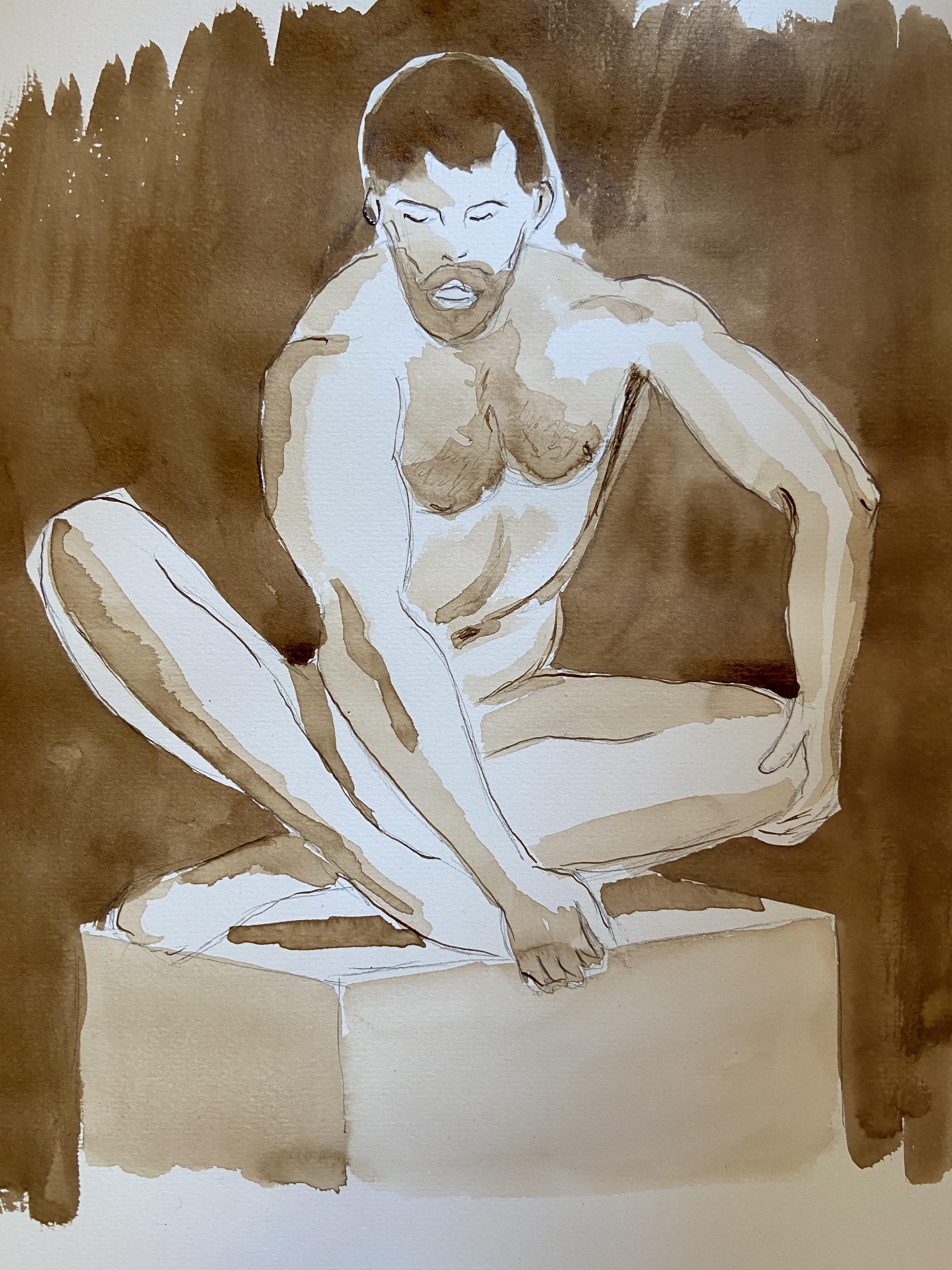 Brou de noix mod�le homme assis d'ailleurs dessin  cours de dessin