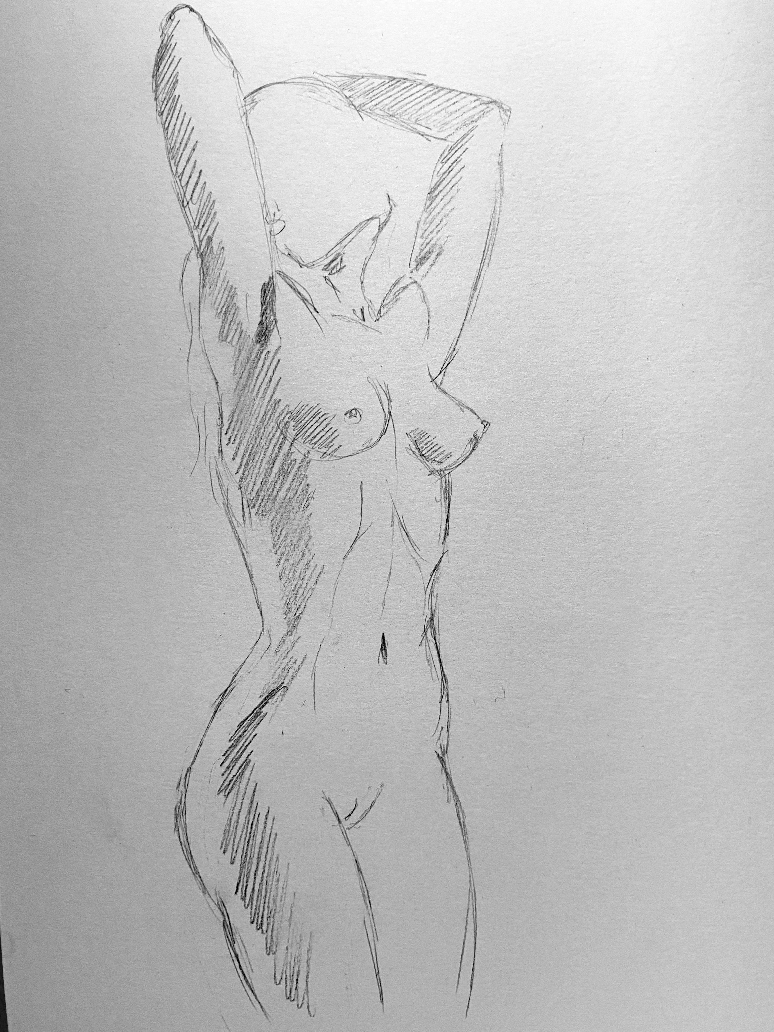 Dessin hachures femmes trois quarts face sur papier  cours de dessin