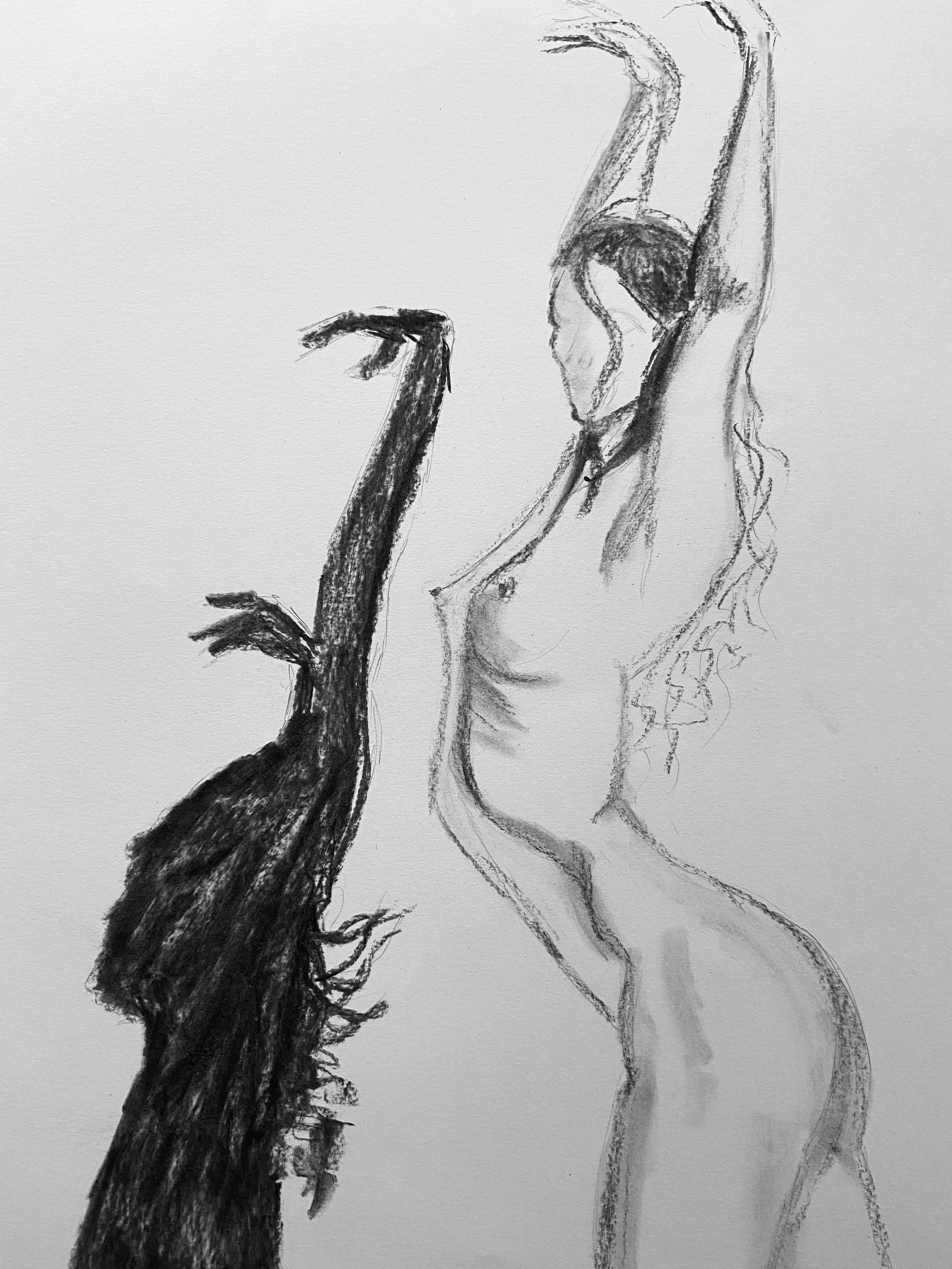 Esquisse danseuse femme profil avec ombre  cours de dessin