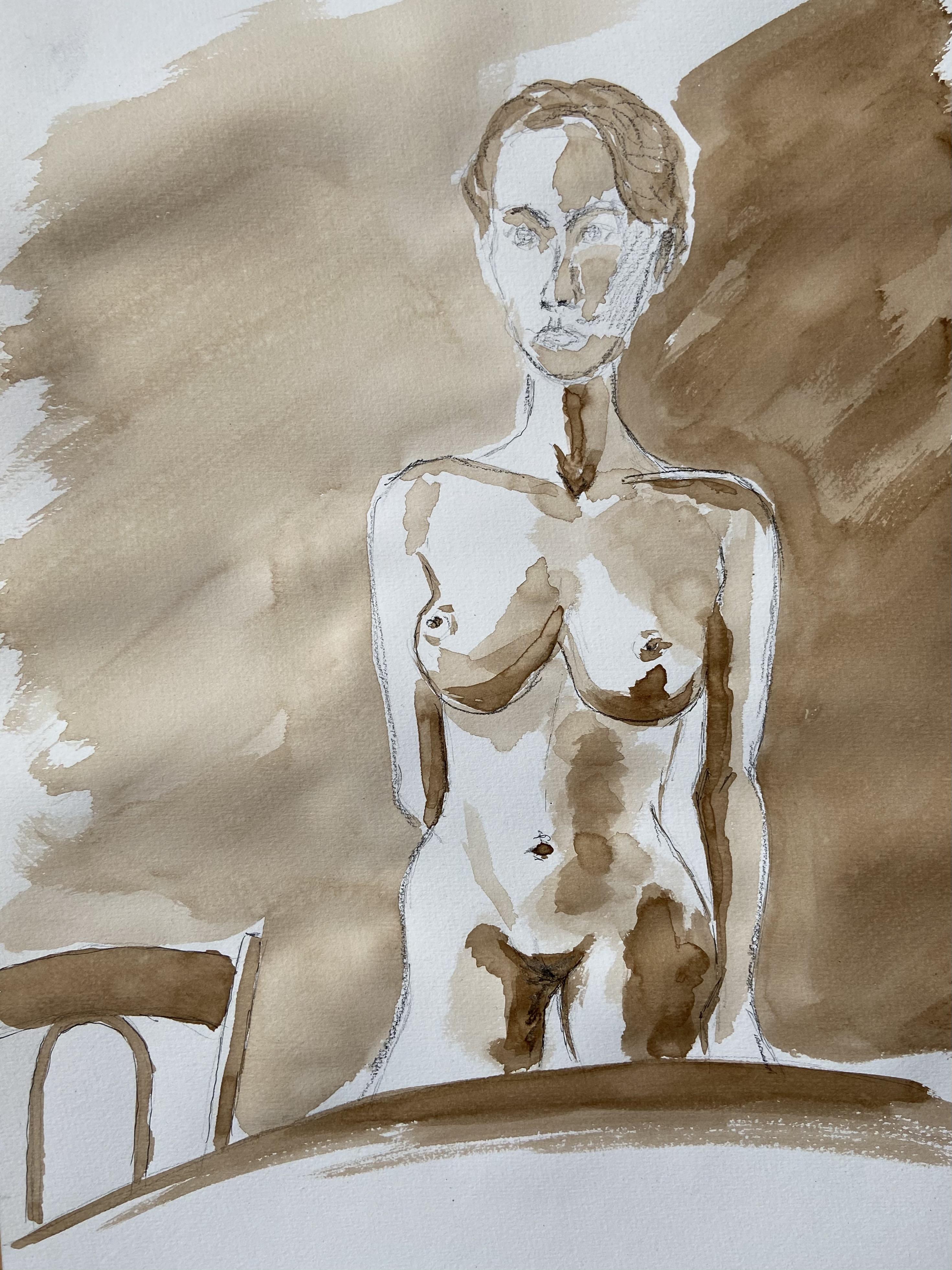 Buste debout face brou de noix esquisse sur papier femme  cours de dessin