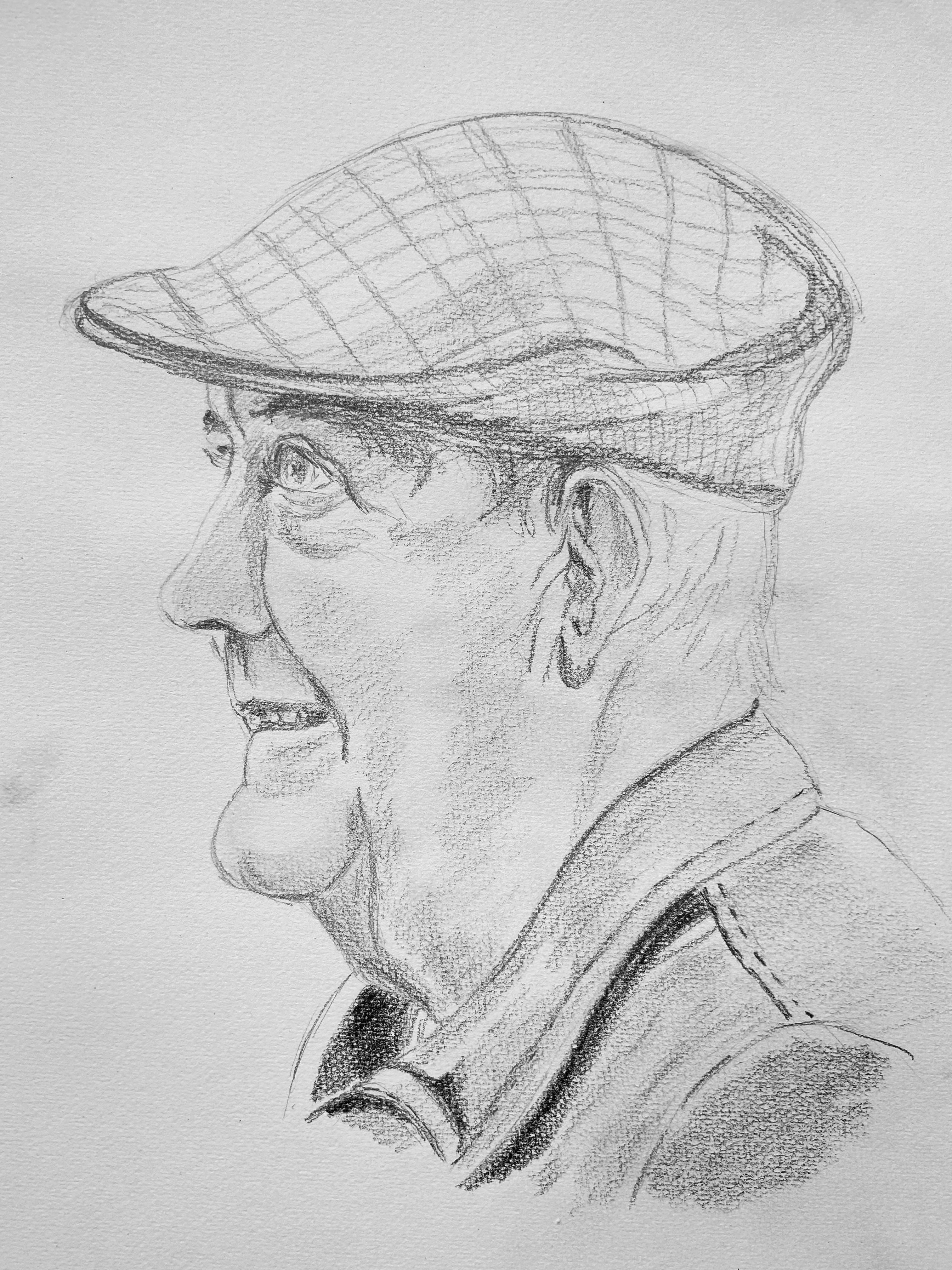 Portrait homme casquette graphite sur papier  cours de dessin