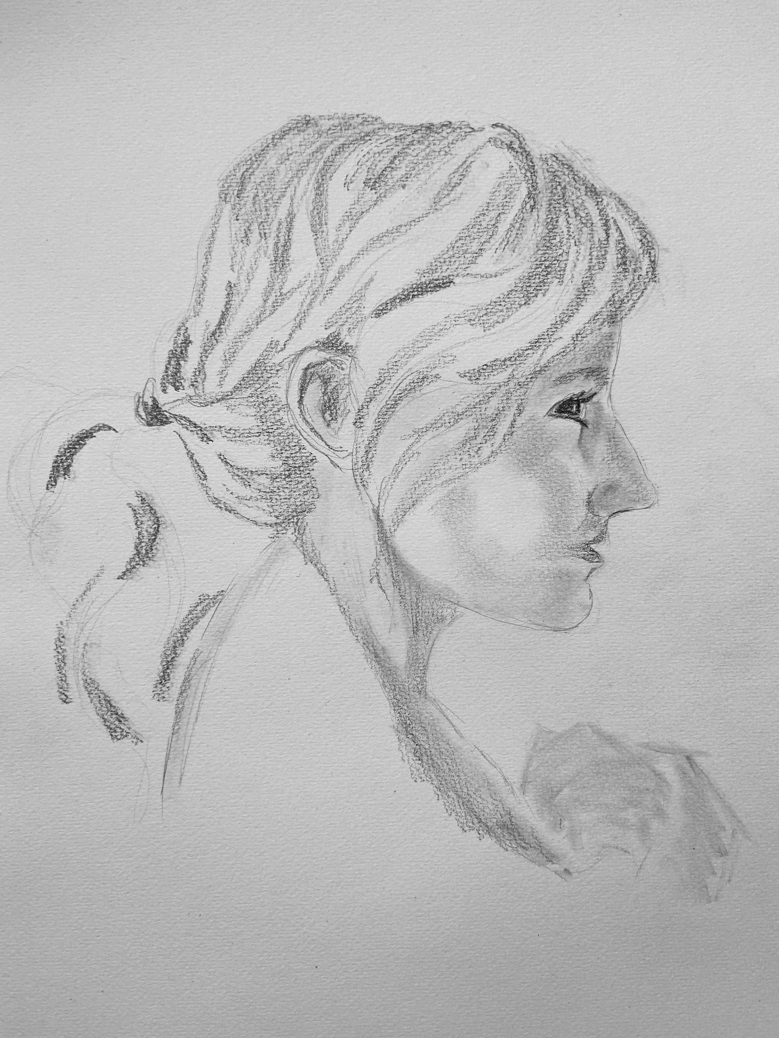 Portrait profil femme graphite esquisse  cours de dessin