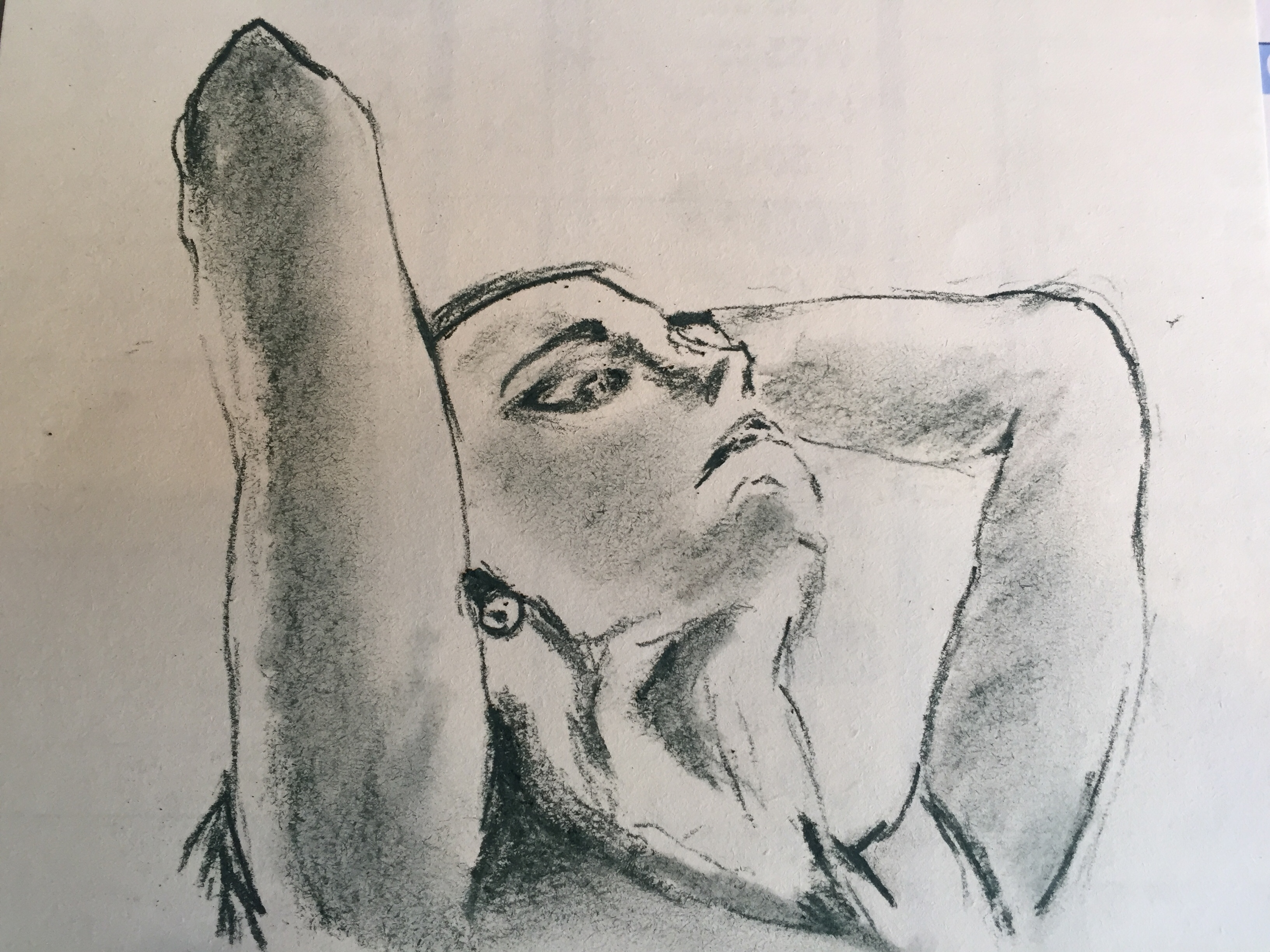 Portrait fusain estompe esquisse sur papier  cours de dessin