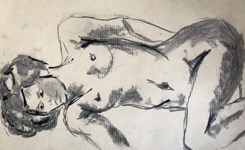 Dessin fusain encre sur papier Kraft pose allonger face  cours de dessin