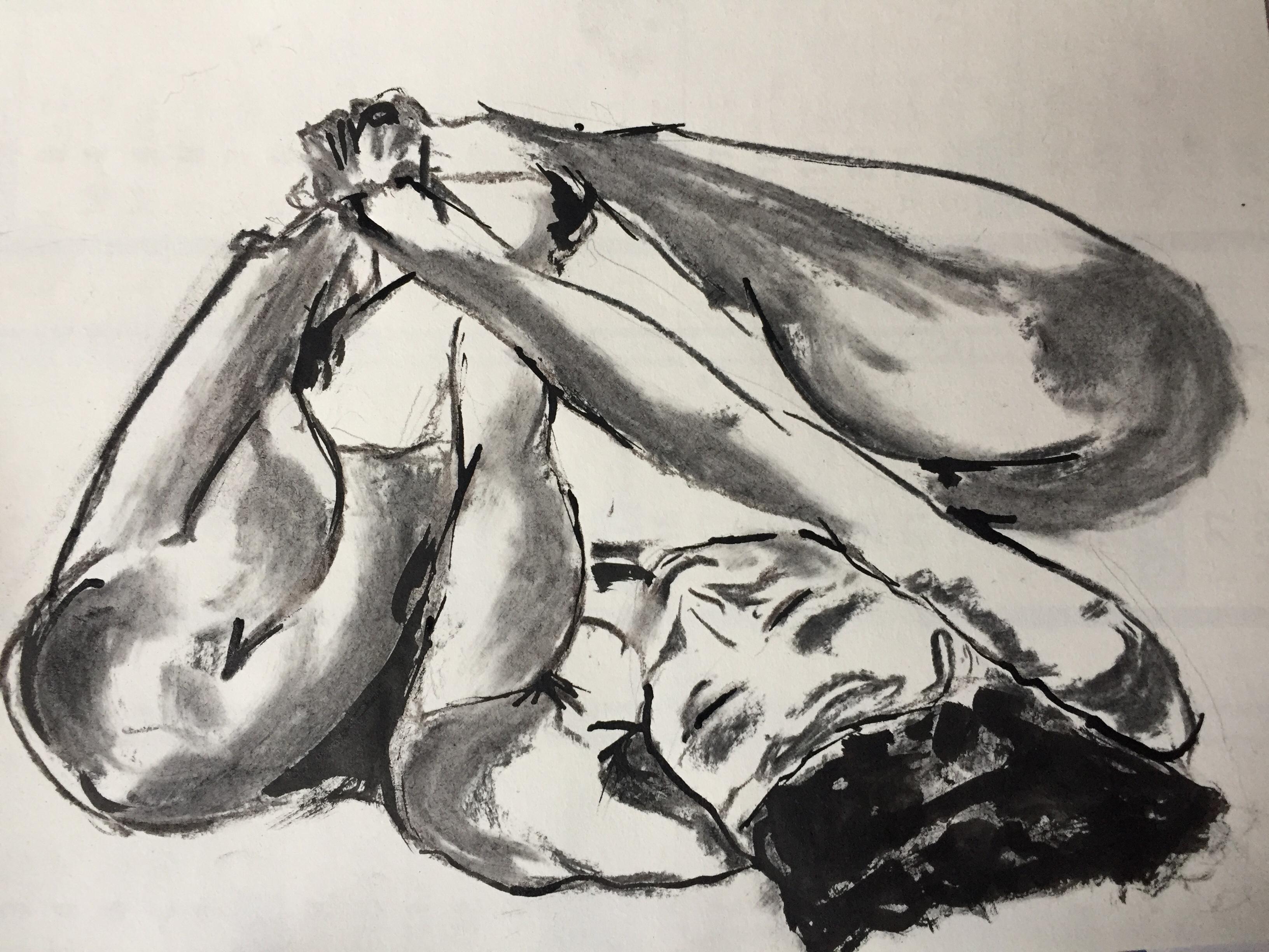 Dessin fusain encre estompe poses regroup�es  cours de dessin