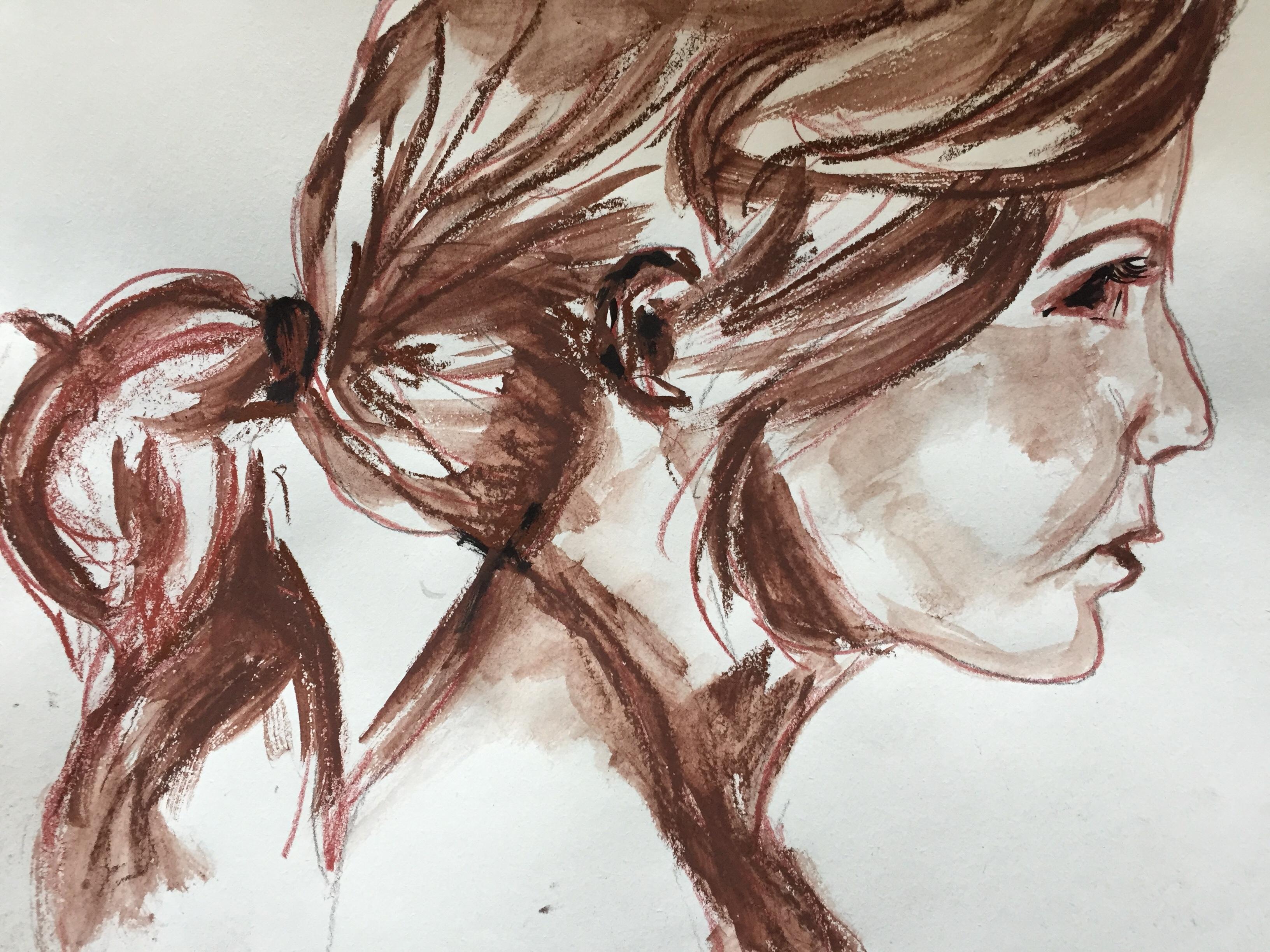 Portrait technique mixte  femme  cours de dessin