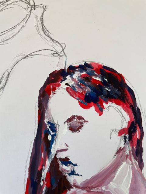 Portrait peinture femme � la cruche  cours de dessin