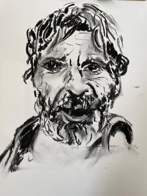 Portrait fusain estompe homme  cours de dessin